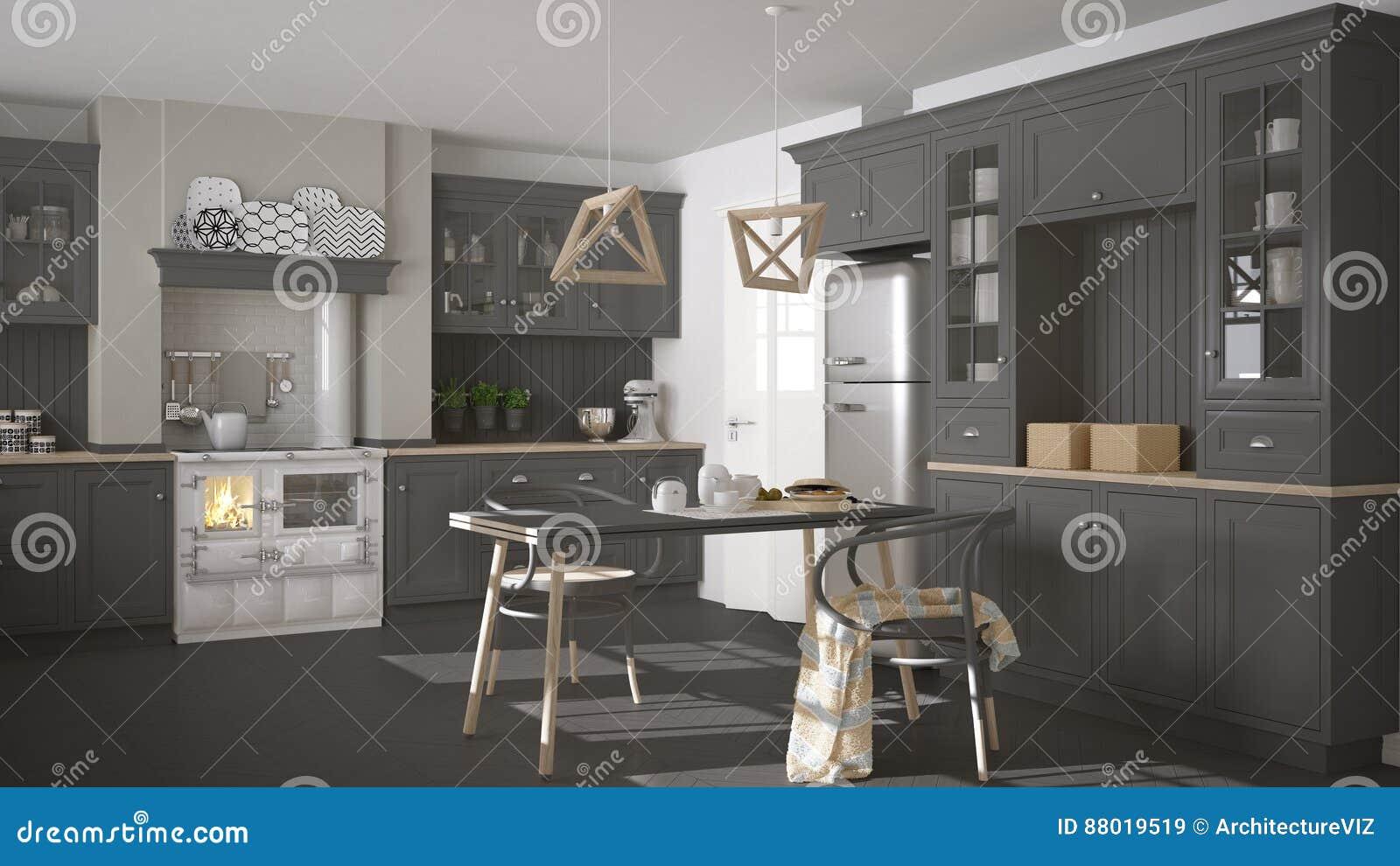 Scandinavian Classic Gray Kitchen With Wooden Details Minimalis