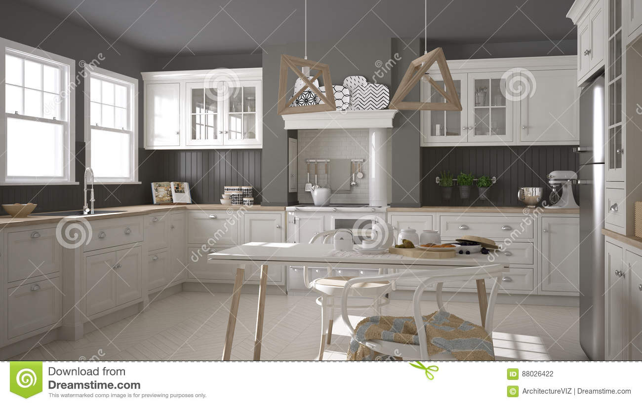 Scandinavian Classic White Kitchen With Wooden Details ...