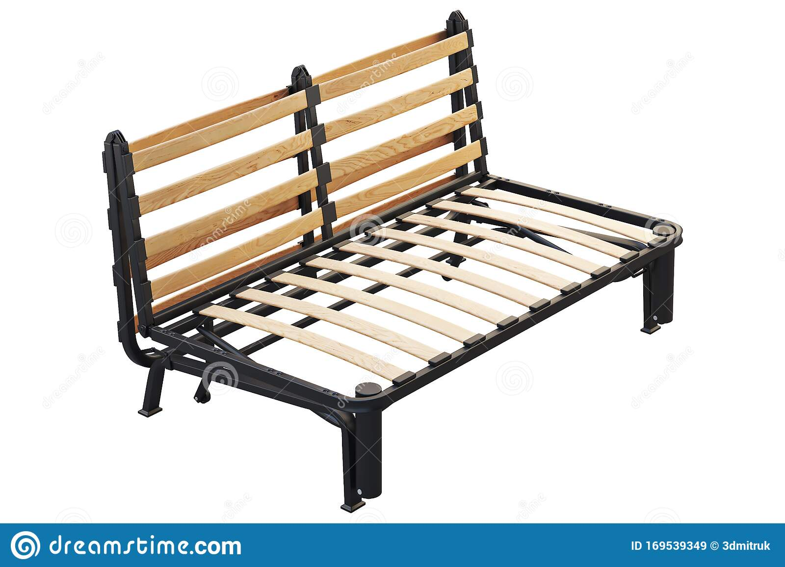 - Scandinavian Double Folding Bed Frame. 3d Render Stock