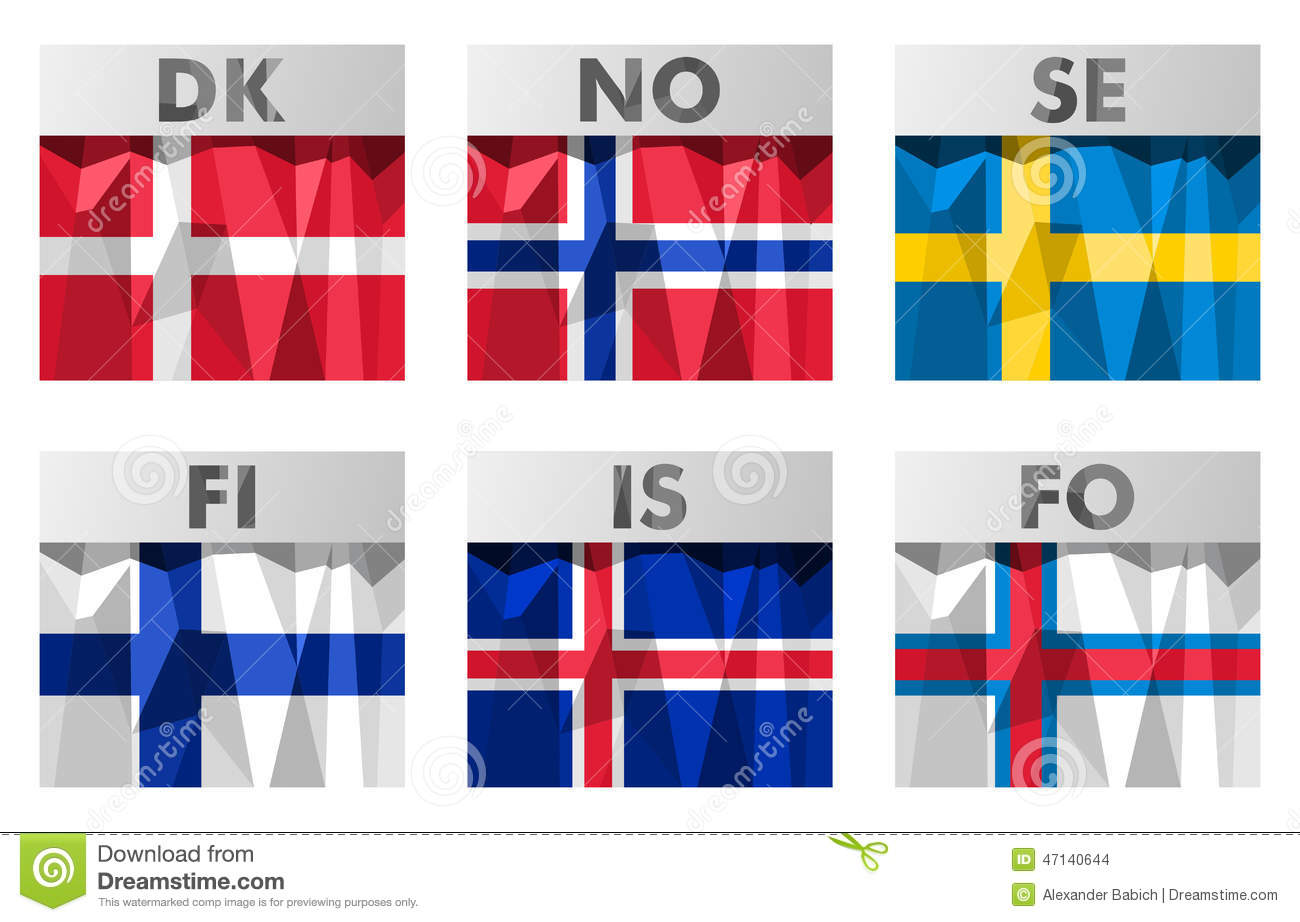 Nordic Scandinavian flags icons set in polygonal style.