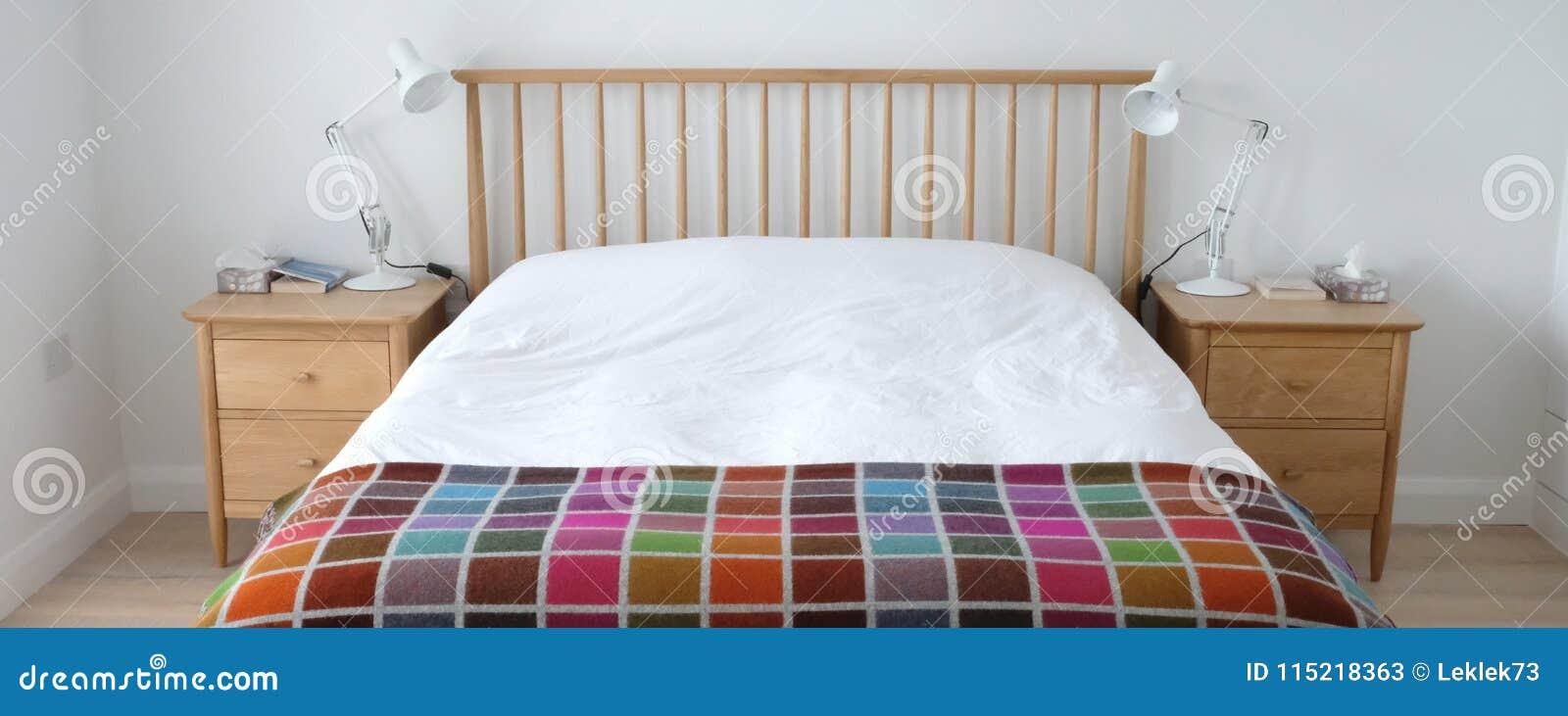 Scandinavian Inspired Bedroom Interior Showing Wooden