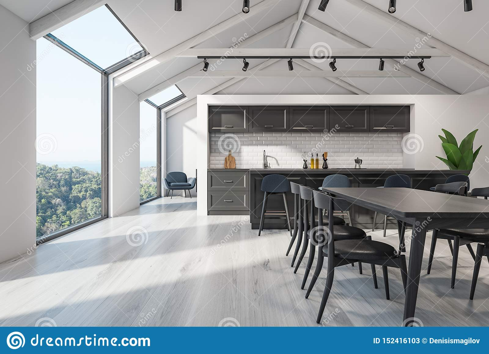 Scandinavian Kitchen Interior, Bar And Table Stock Illustration ...