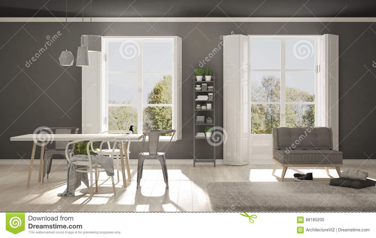 scandinavian living room with big windows garden panorama in ba