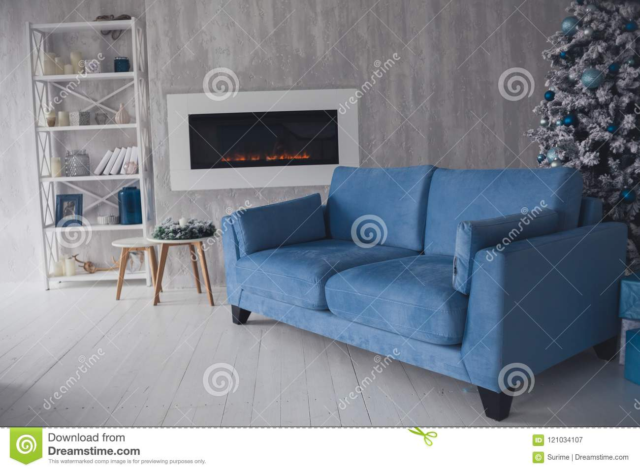 Scandinavian Living Room With Blue Sofa Stock Image Image Of Fireplace Scandinavian 121034107