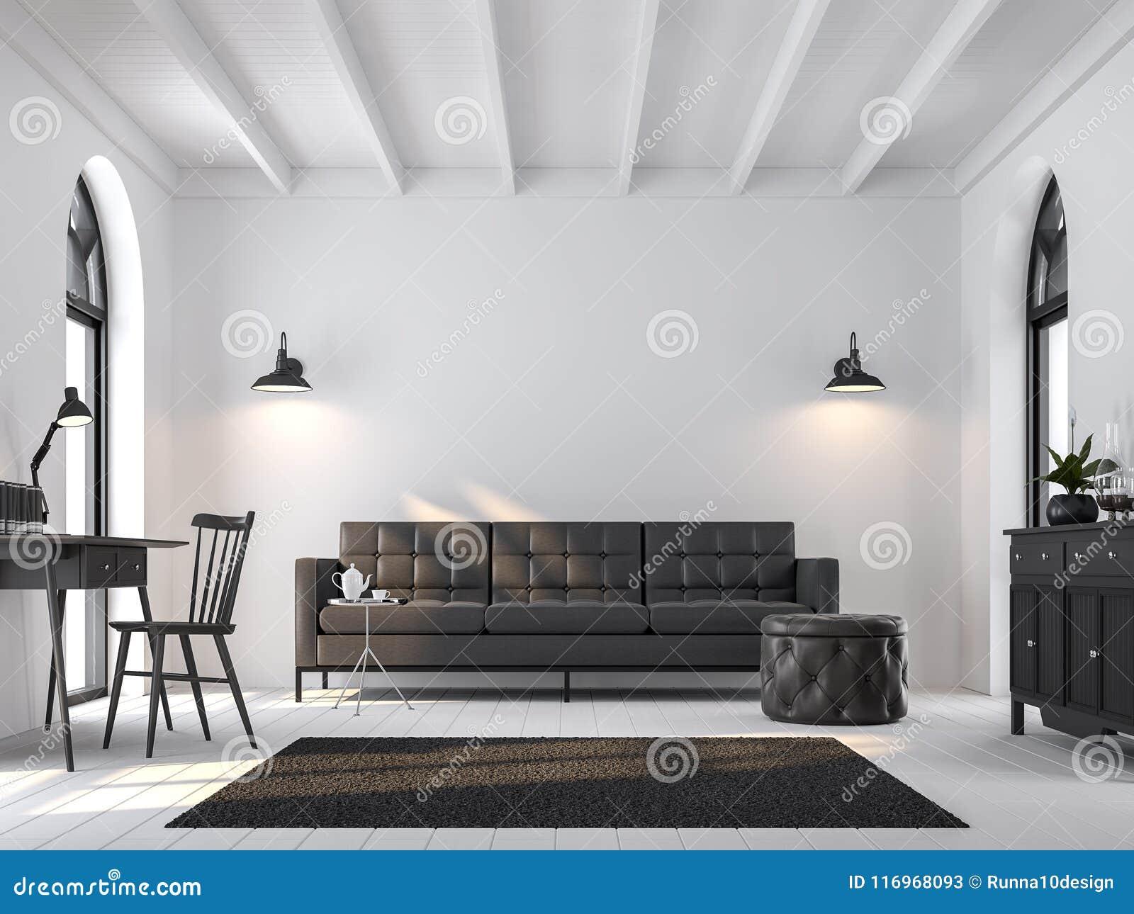 Scandinavian Living Room 3d Renderfurnished With Black Furniture