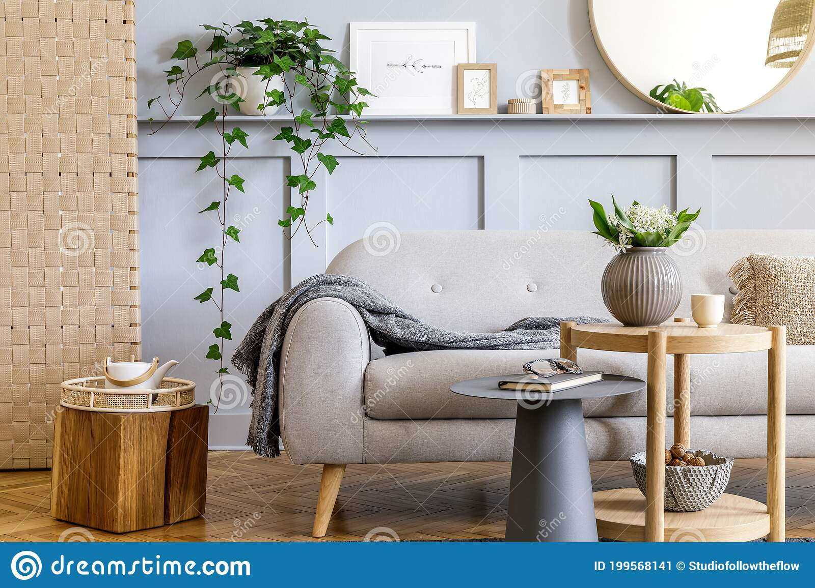 Scandinavian Living Room Interior With Design Grey Sofa Wooden Coffee Table Tropical Plants Shelf Mirror Furniture Plaid Stock Image Image Of Frontal Indoors 199568141