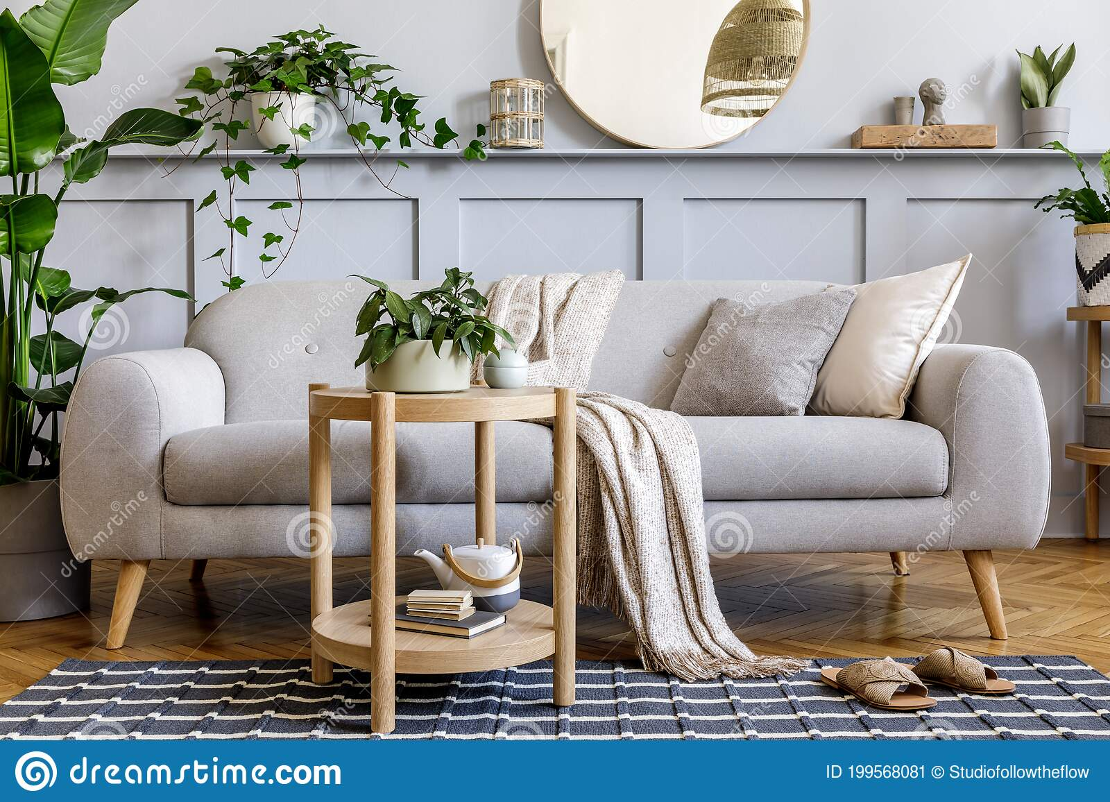 Scandinavian Living Room Interior With Design Grey Sofa Wooden Coffee Table Tropical Plants Shelf Mirror Furniture Plaid Stock Image Image Of Indoors Comfortable 199568081