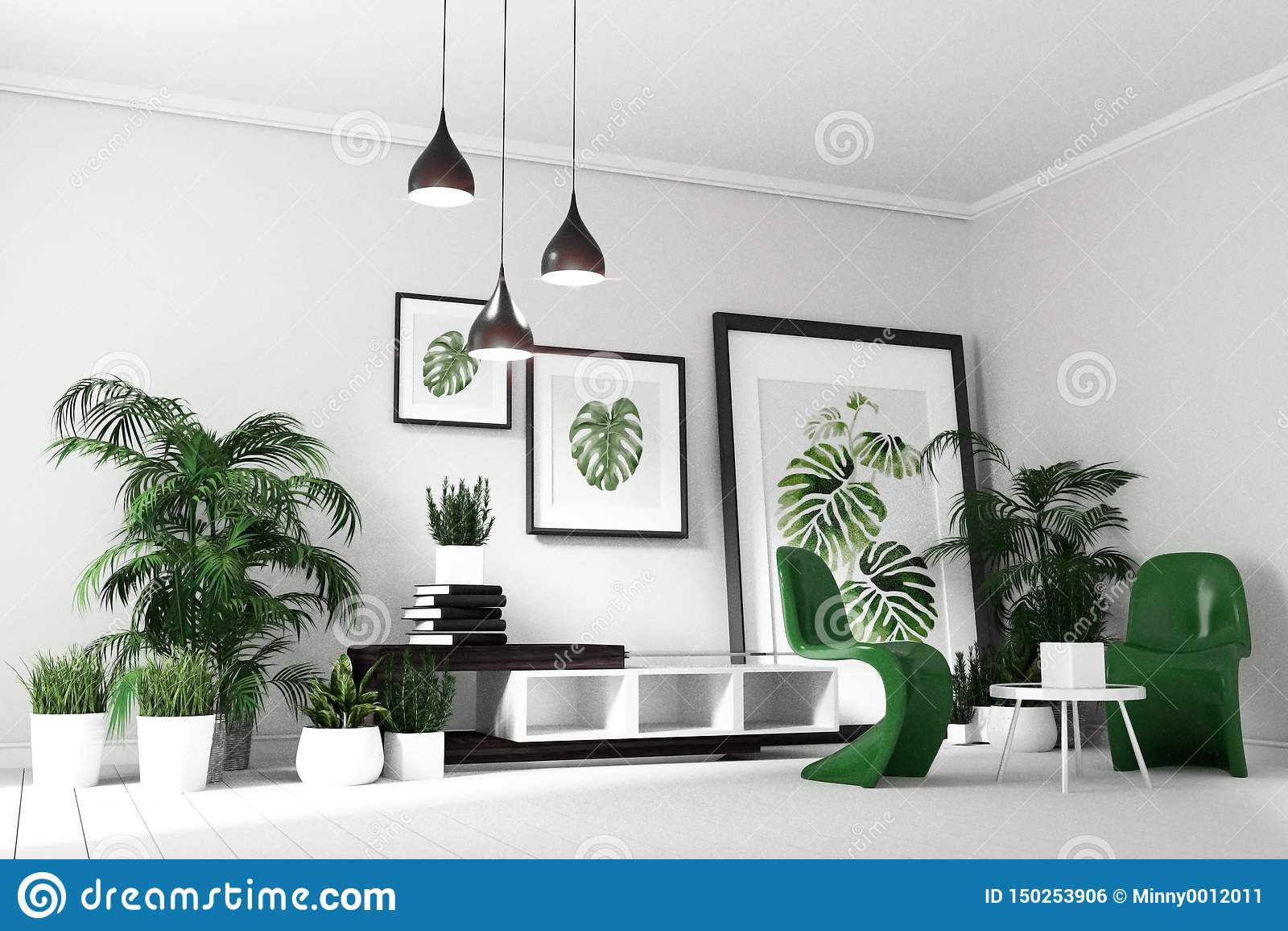 Scandinavian Living Room Interior Room Modern Tropical