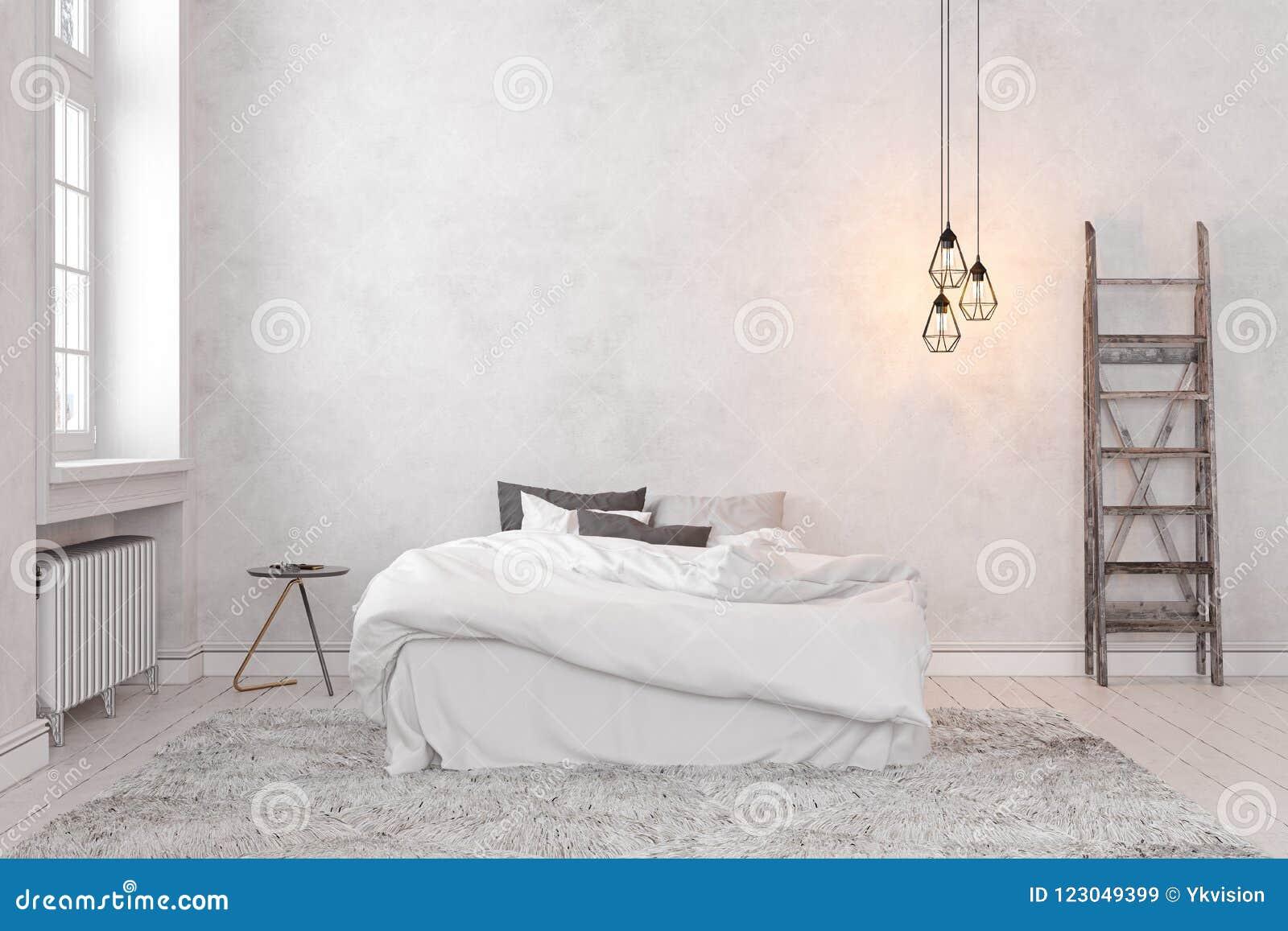 Scandinavian, loft interior empty white bedroom.