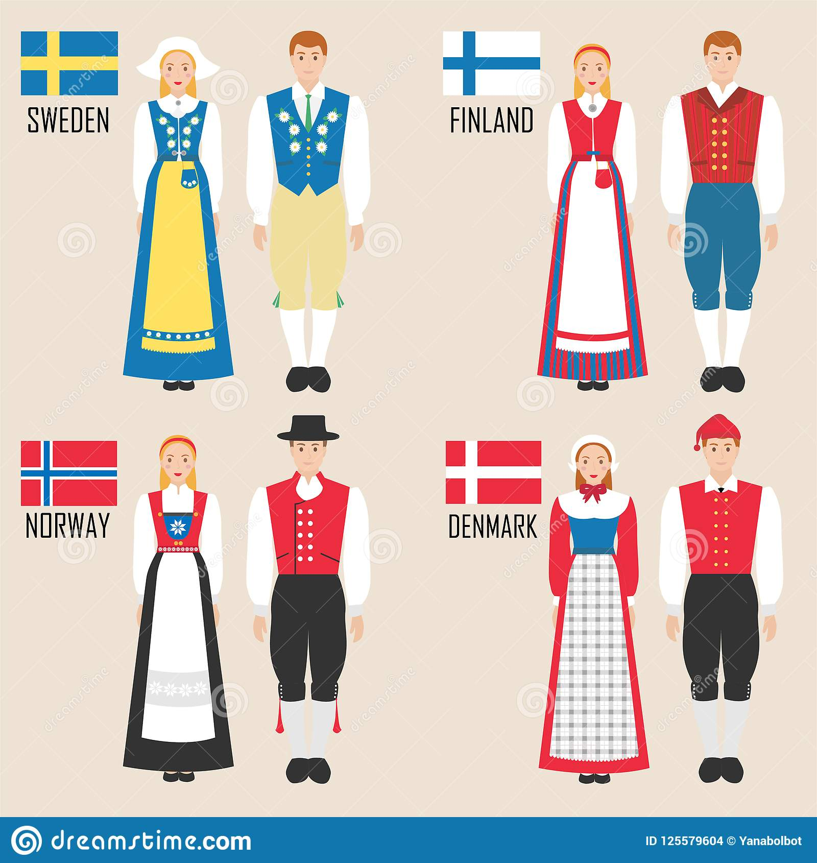 046957aa3 Scandinavian Man And Woman In Traditional Costumes Stock Vector ...