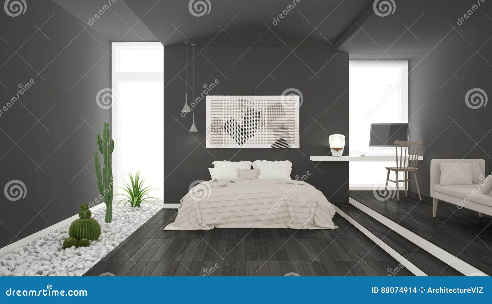 Scandinavian Minimalist Gray Bedroom With Succulent Garden