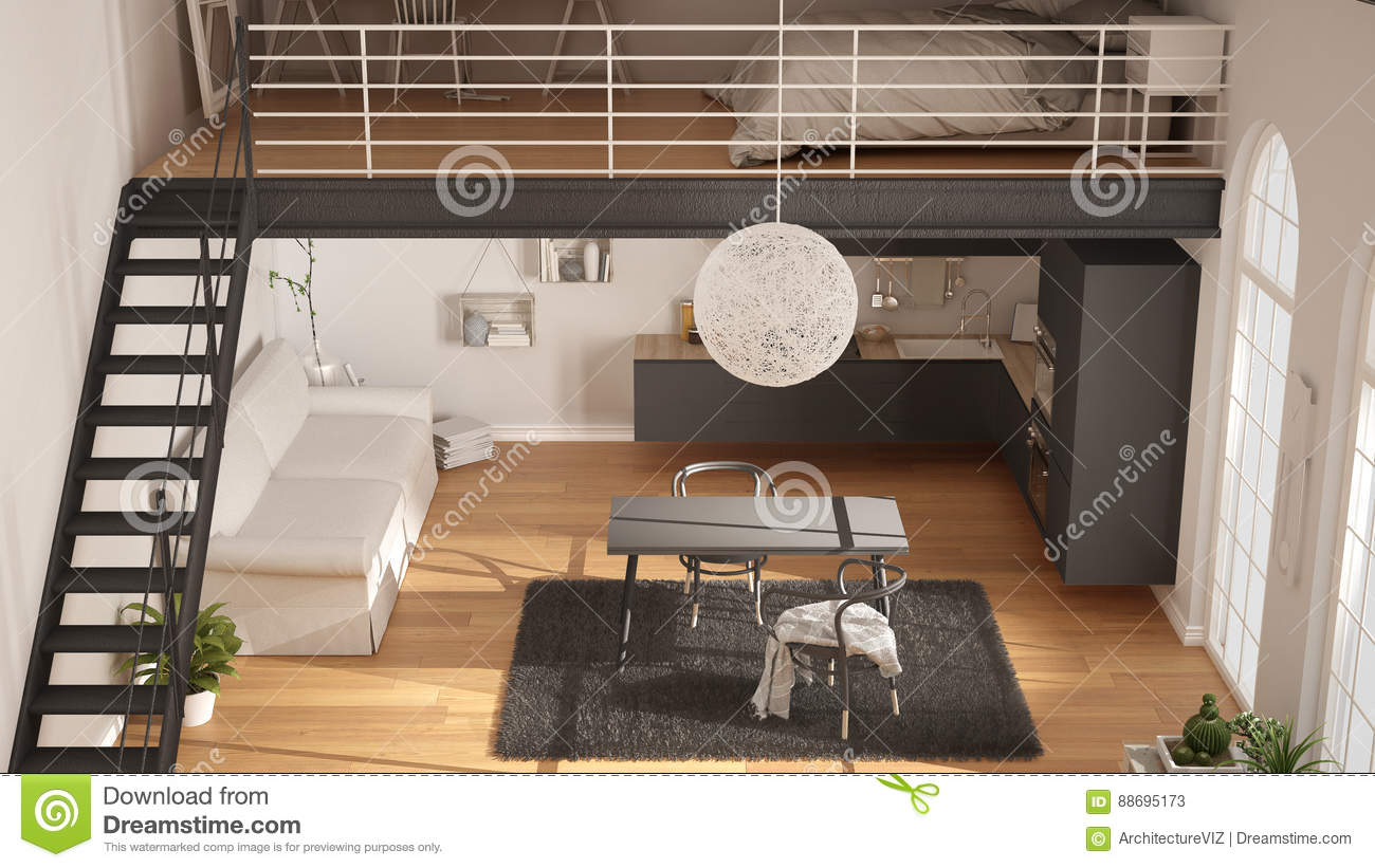 Scandinavian Minimalist Loft One Room Apartment With Gray Kitchen Living And Bedroom Top View Classic Interior Design Stock Illustration Illustration Of Furniture Indoor 88695173