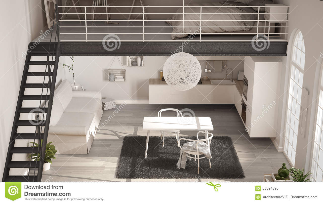 Scandinavian Minimalist Loft One Room Apartment With White Kitchen Living And Bedroom Top View Classic Interior Design Stock Photo Image Of Bright Interior 88694890