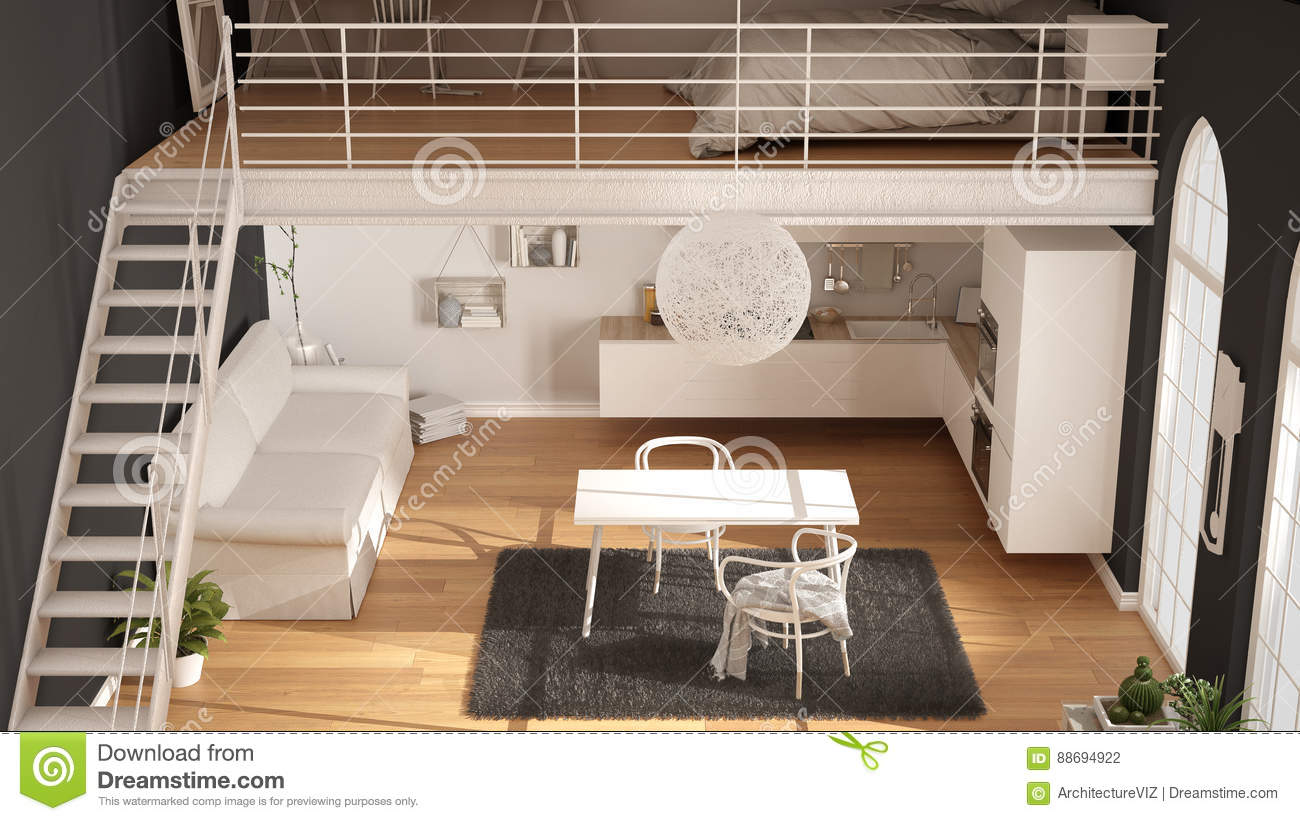 Scandinavian Minimalist Loft One Room Apartment With White Kitchen Living And Bedroom Top View Classic Interior Design Stock Photo Image Of Desk House 88694922