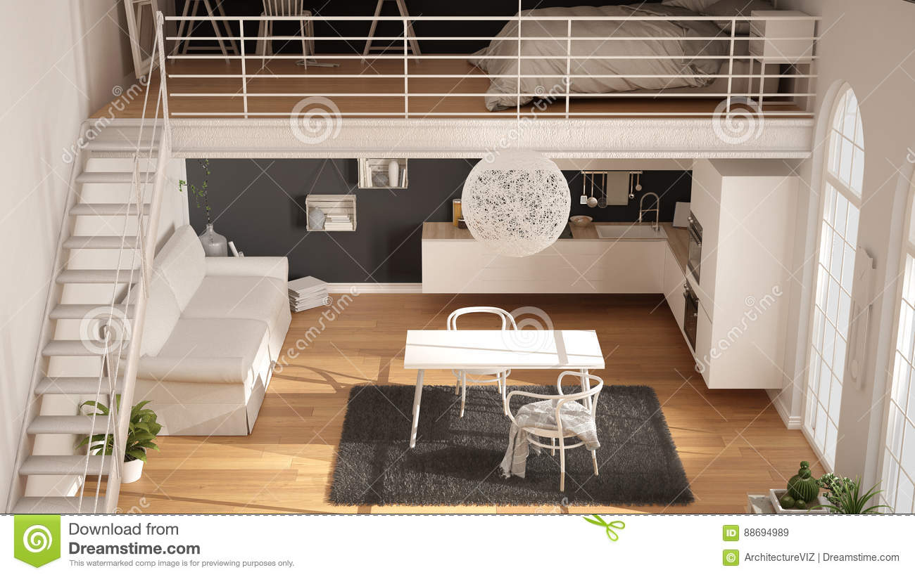 Scandinavian Minimalist Loft One Room Apartment With White Kitchen Living And Bedroom Top View Classic Interior Design Stock Image Image Of Attic Indoor 88694989