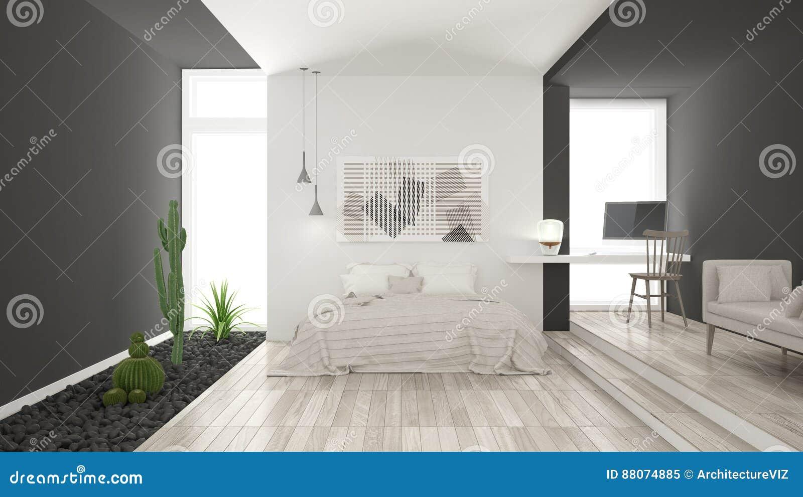 Scandinavian Minimalist White And Gray Bedroom With Succulent Ga - Gray-bedroom-minimalist