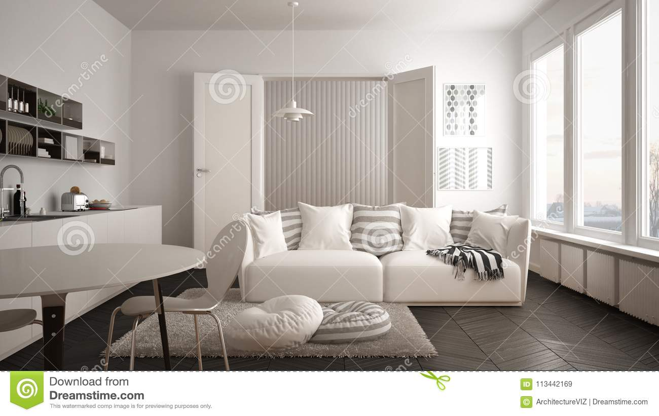 Scandinavian Modern Living Room With Kitchen Dining Table