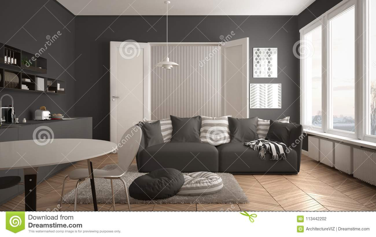 858864d7267a Scandinavian modern living room with kitchen, dining table, sofa and rug  with pillows, minimalist white and gray architecture interior design