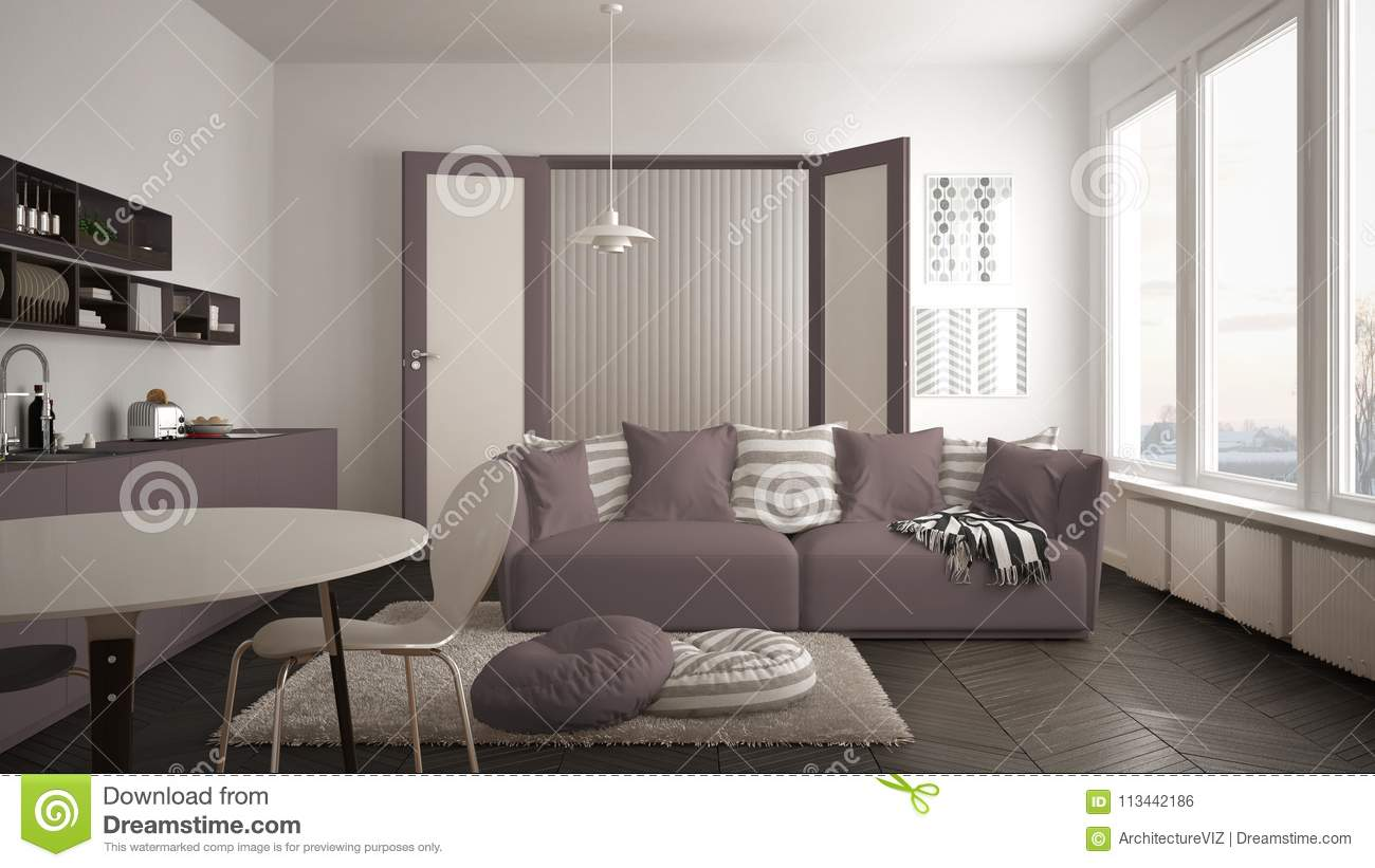 Scandinavian Modern Living Room With Kitchen, Dining Table, Sofa And ...