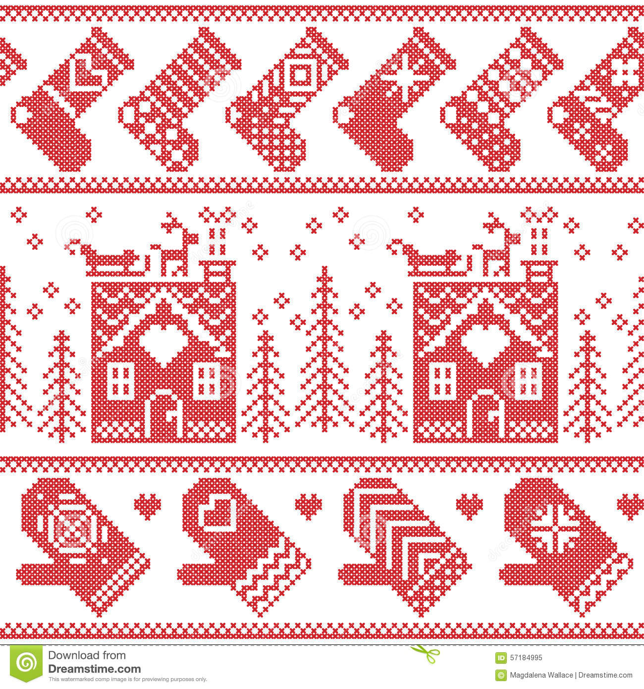 Nordic christmas ornaments - Scandinavian Nordic Christmas Seamless Pattern With Ginger Bread House Stockings Gloves Reindeer