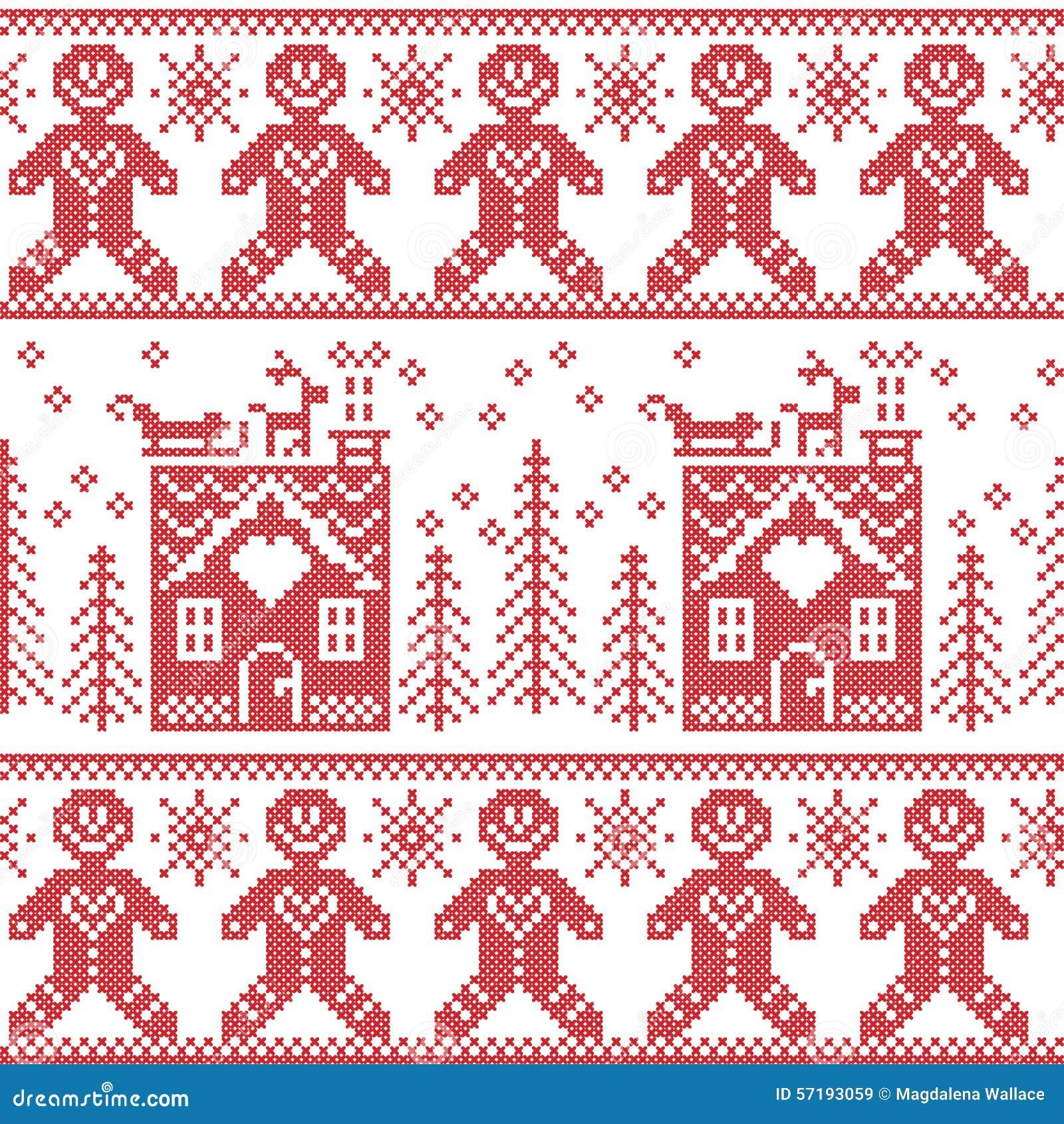 Scandinavian Nordic Christmas Seamless Pattern With Gingerbread Man ...