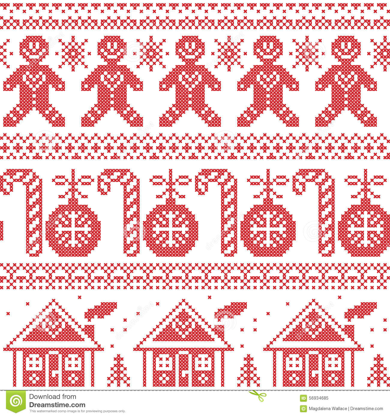 Scandinavian Nordic seamless pattern with ginger bread man, candy, ginger house, bauble, xmas trees in red cross stitch