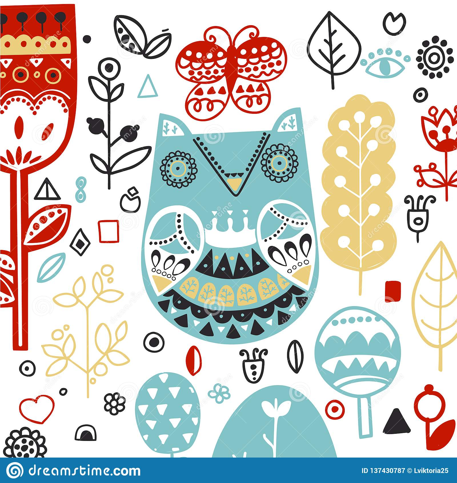 Doodle style Ornamental hand drawn owl illustration