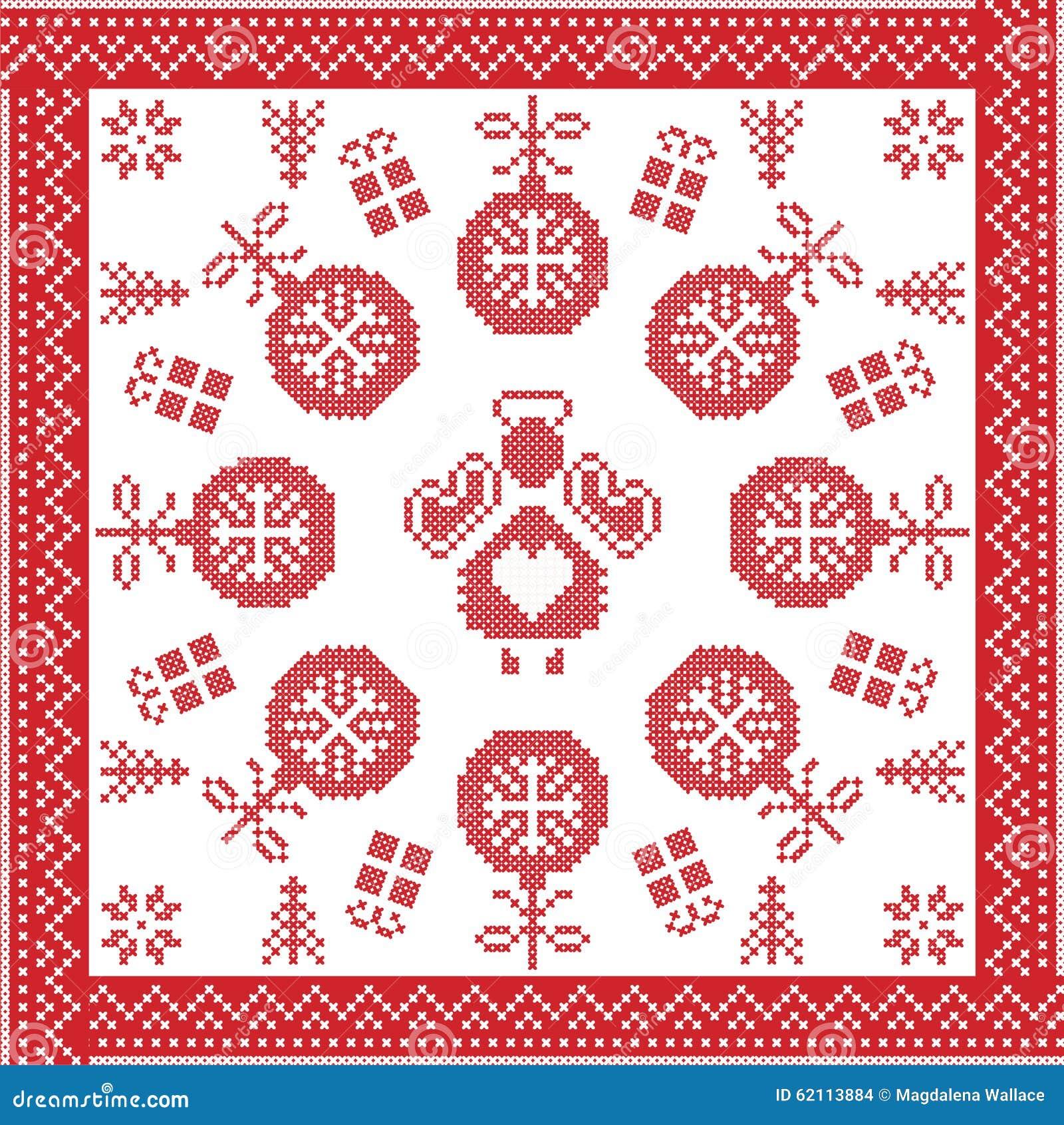 Scandinavian Nordic Winter Cross Stitch, Knitting Christmas Pattern ...