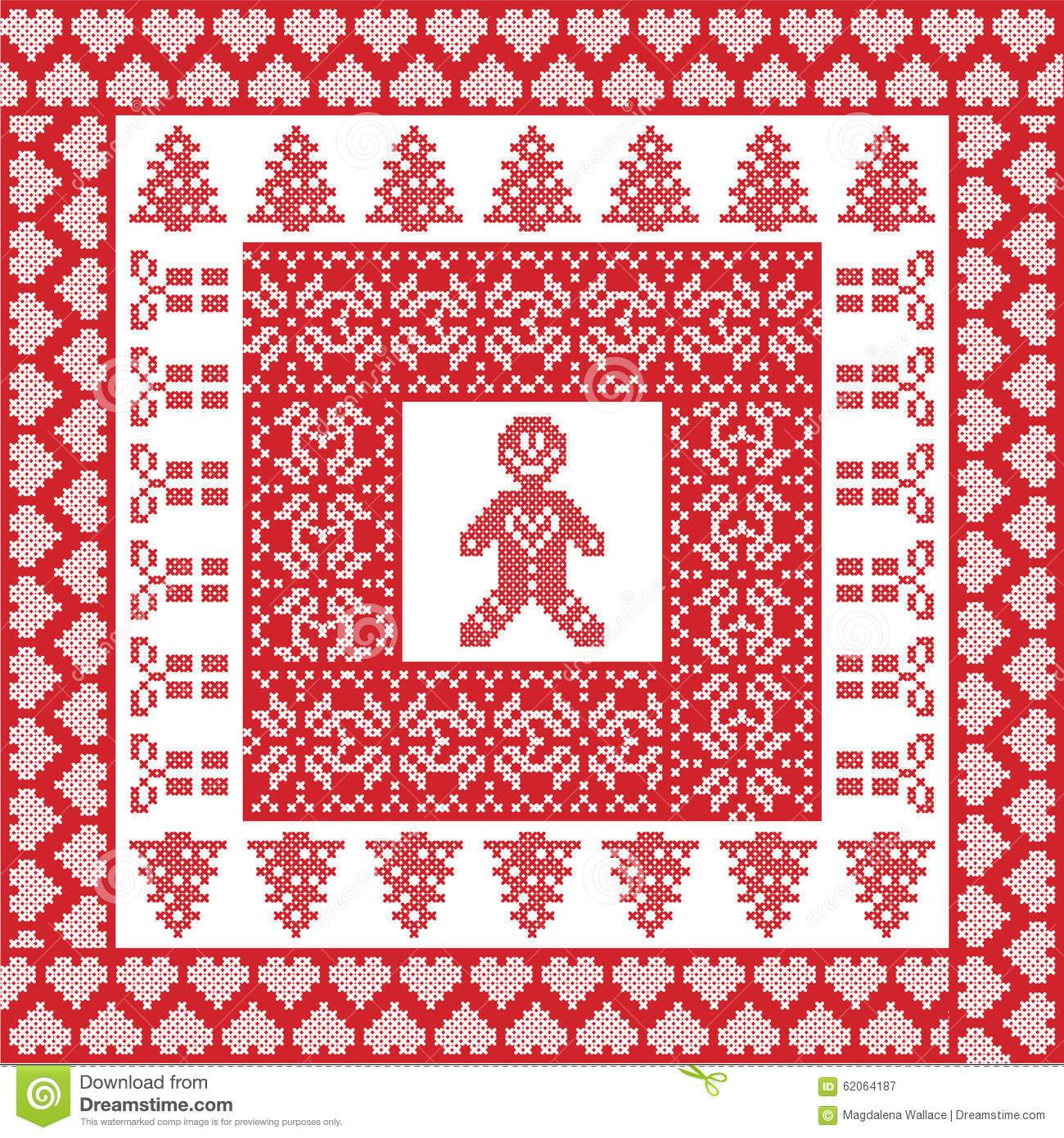 Nordic Knitting Patterns Free : Scandinavian Nordic Winter Cross Stitch, Knitting Christmas Pattern In Square...