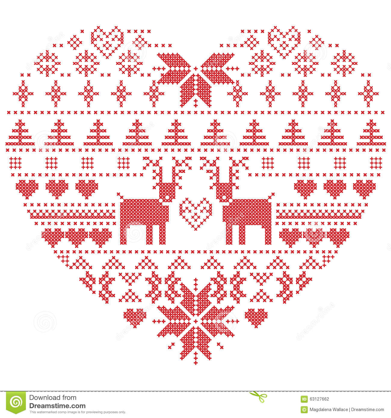 Knitting Heart Stitch Pattern : Scandinavian Nordic Winter Stitch, Knitting Christmas Pattern In In Heart Sha...