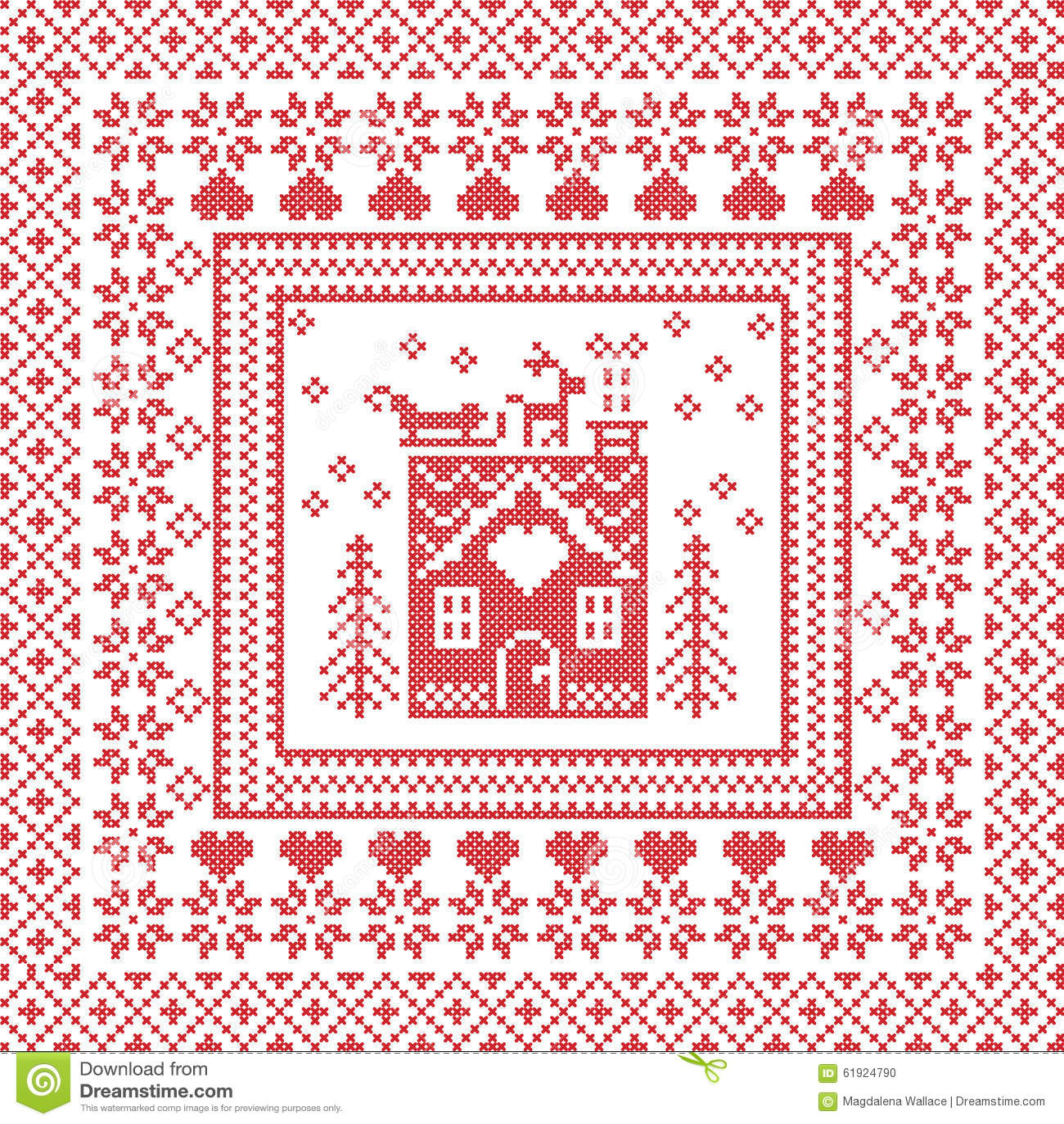 Scandinavian Nordic Winter Stitch, Knitting Pattern In Square, Tile ...