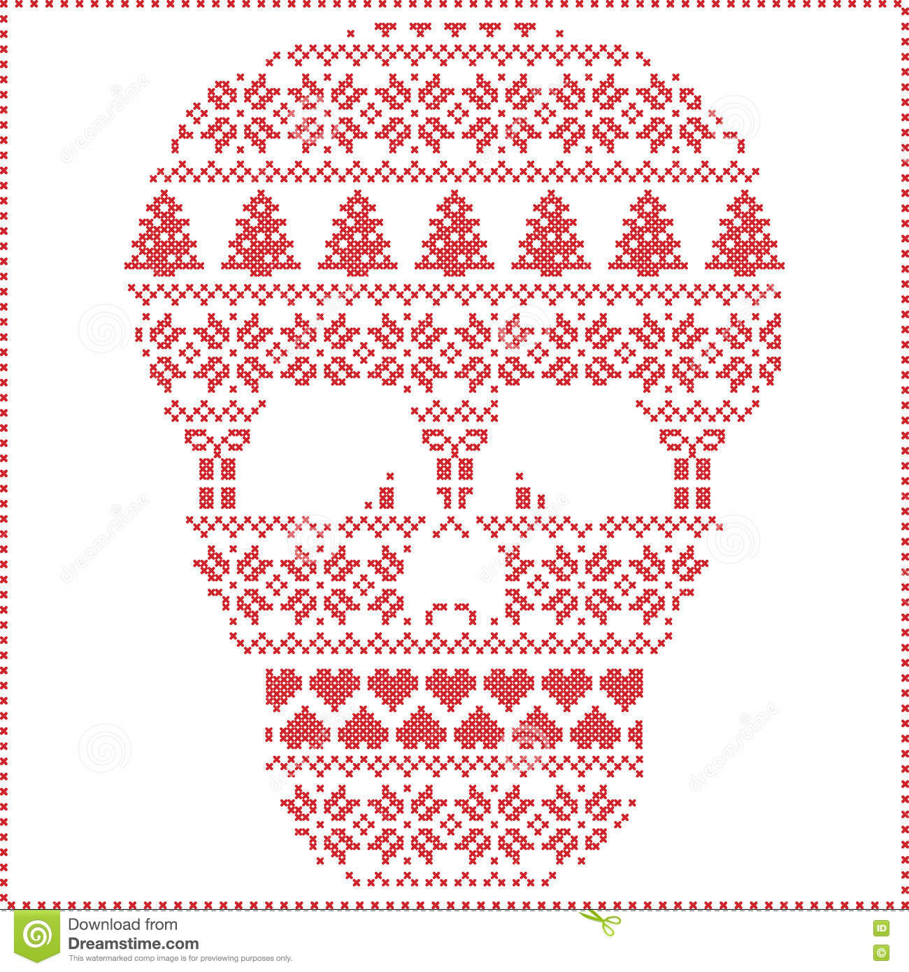 scandinavian nordic winter stitching knitting christmas pattern in in sugar skull shape including snowflakes hearts - Christmas Sugar Skull