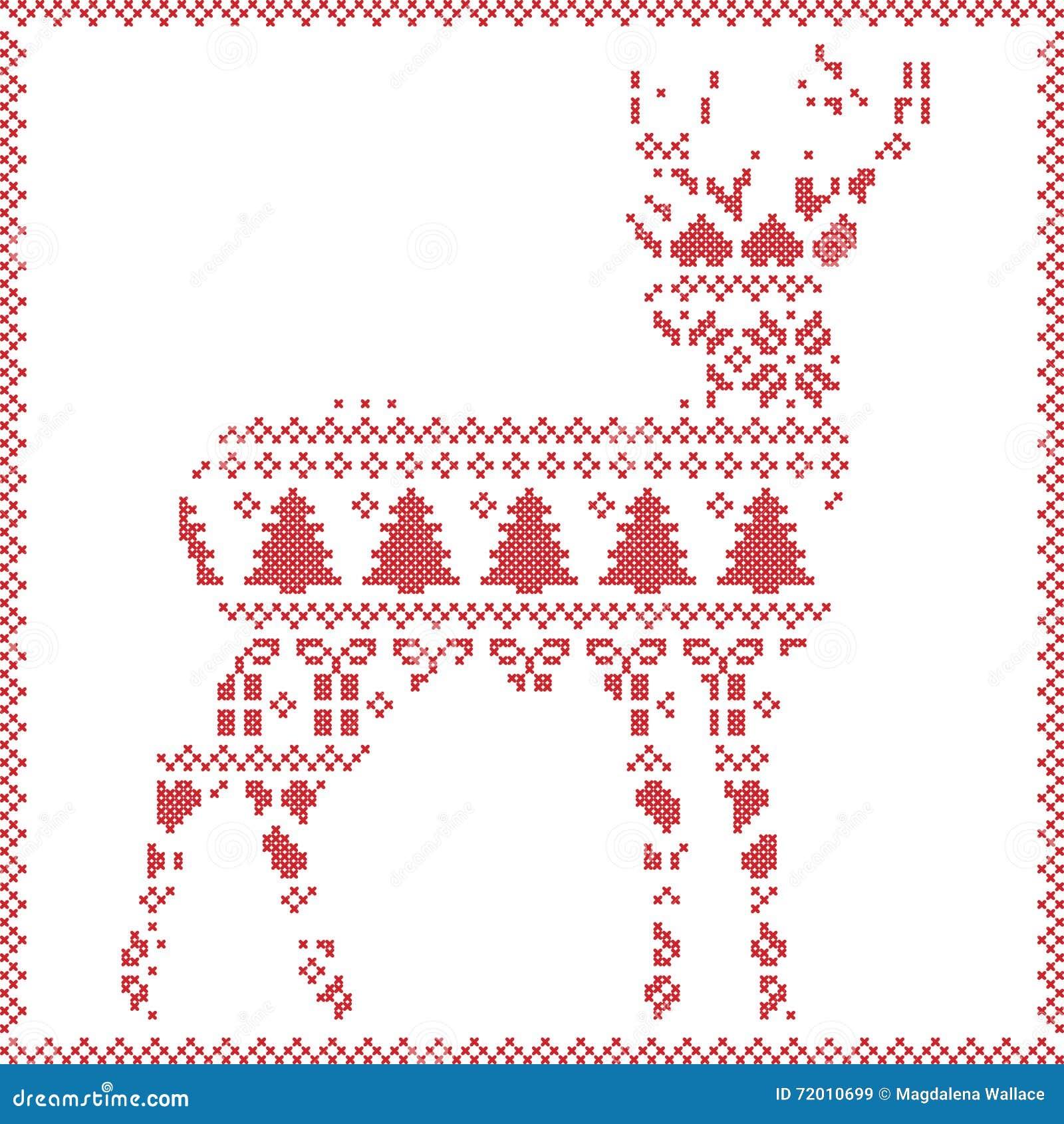 Scandinavian Norwegian Style Winter Stitching Knitting Christmas ...