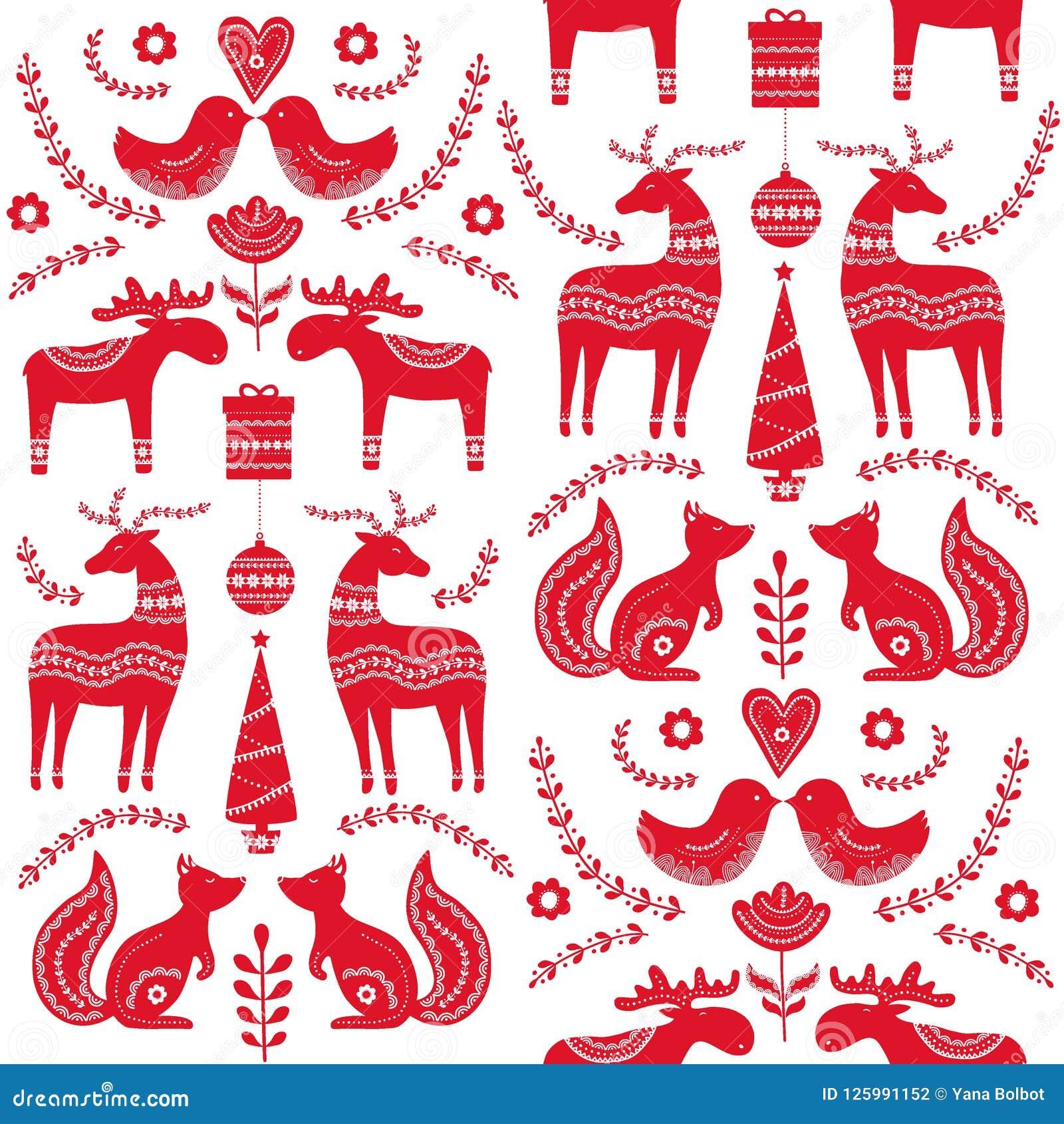 folk christmas Scandinavian art
