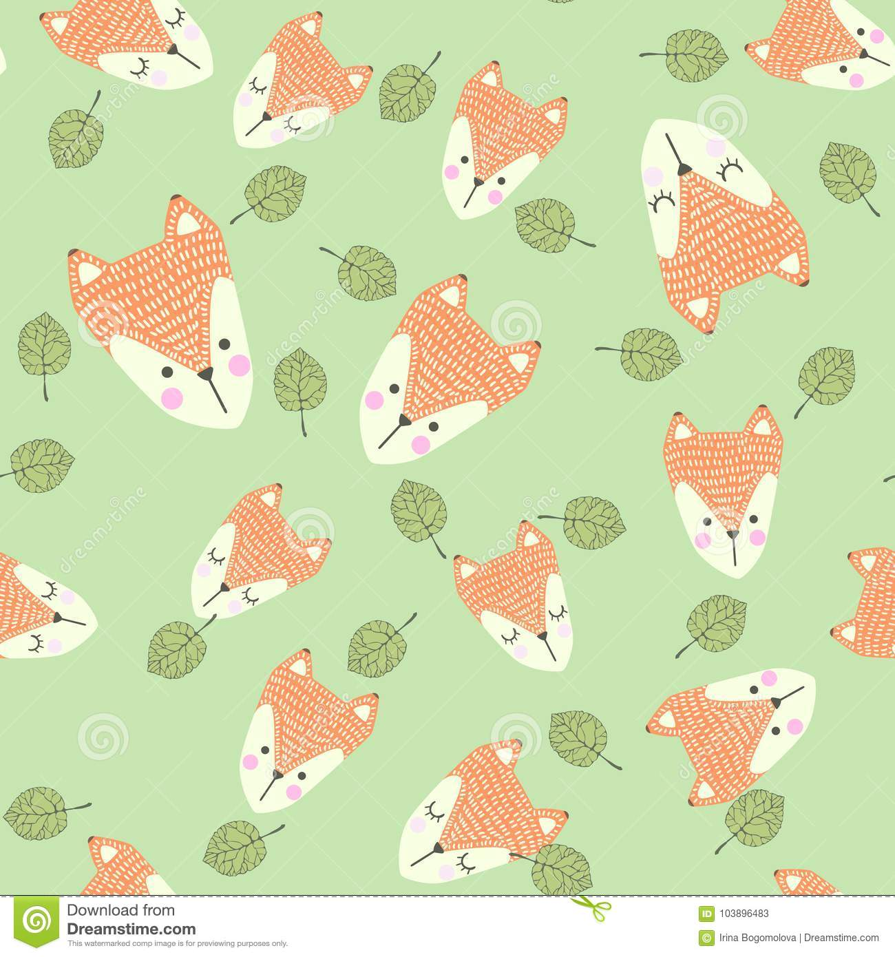 Scandinavian Seamless Pattern With Foxes And Leaves Finnish