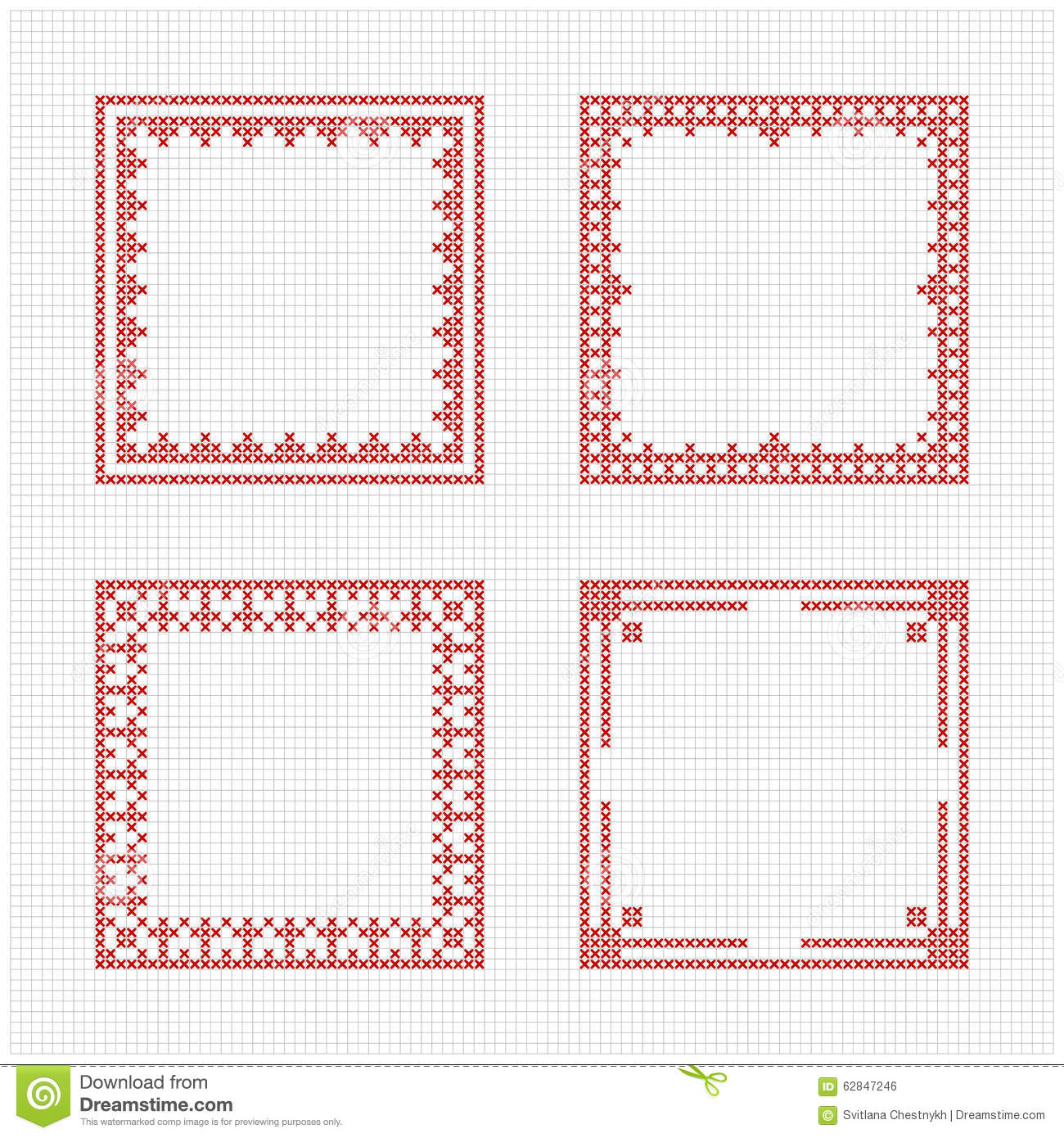 Set of four square frames - Cross stitch pattern. Redwork ornament for ...