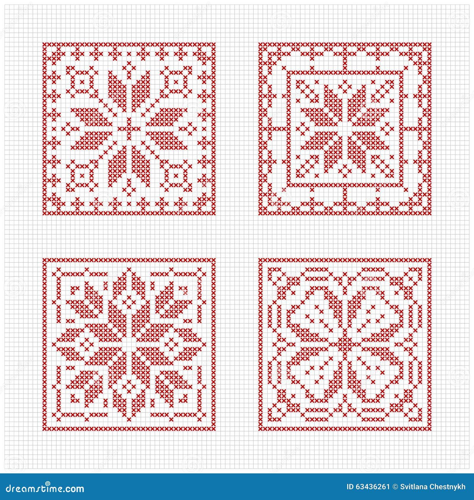 Scandinavian Style Cross Stitch Pattern Stock Vector Illustration