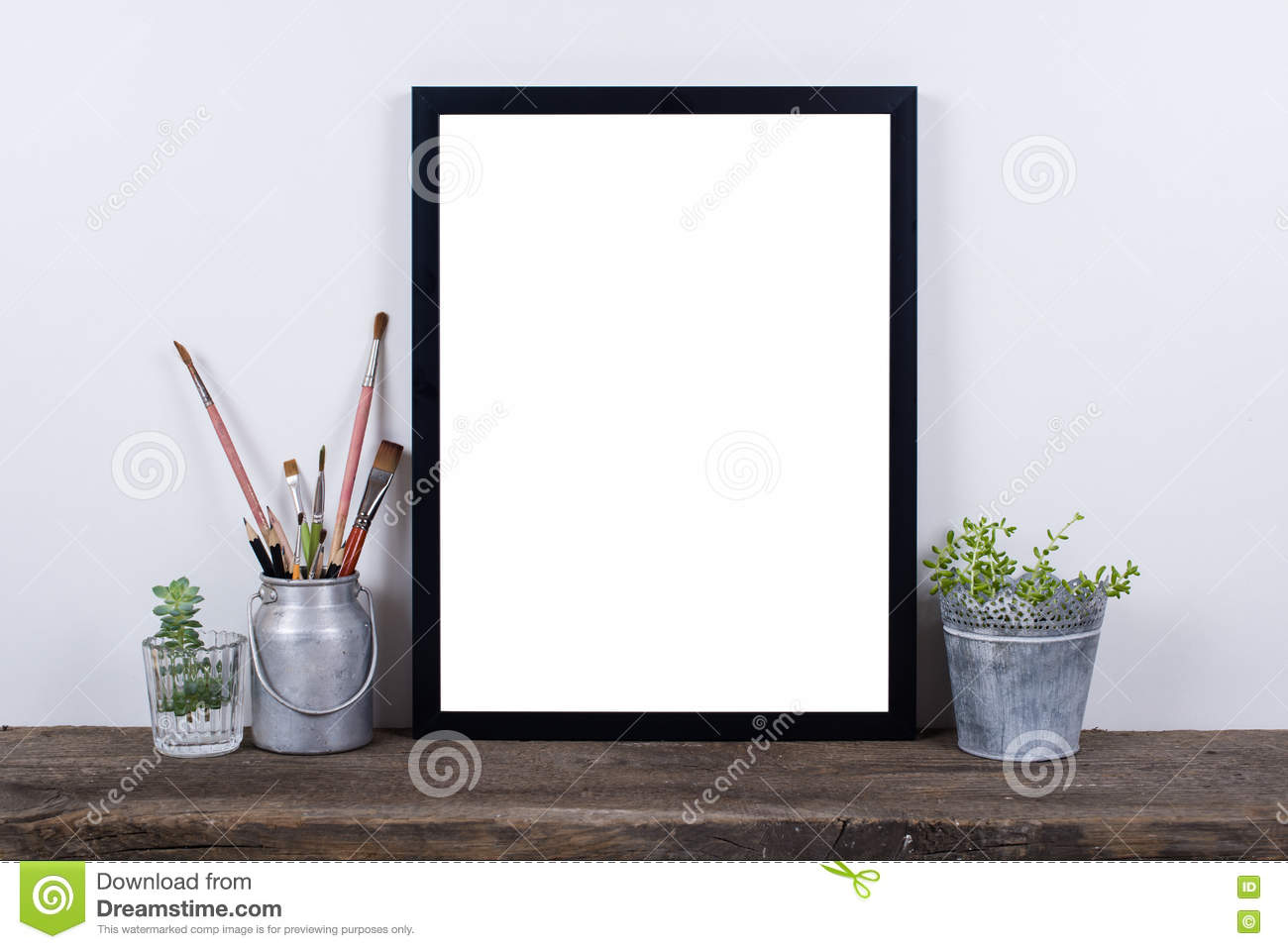 Scandinavian Style Empty Photo Frame Mock Up Minimal Home Decor