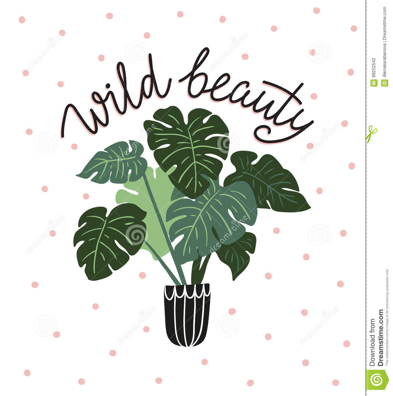 Scandinavian style illustration with monstera, vector print design with lettering - `wild beauty`.