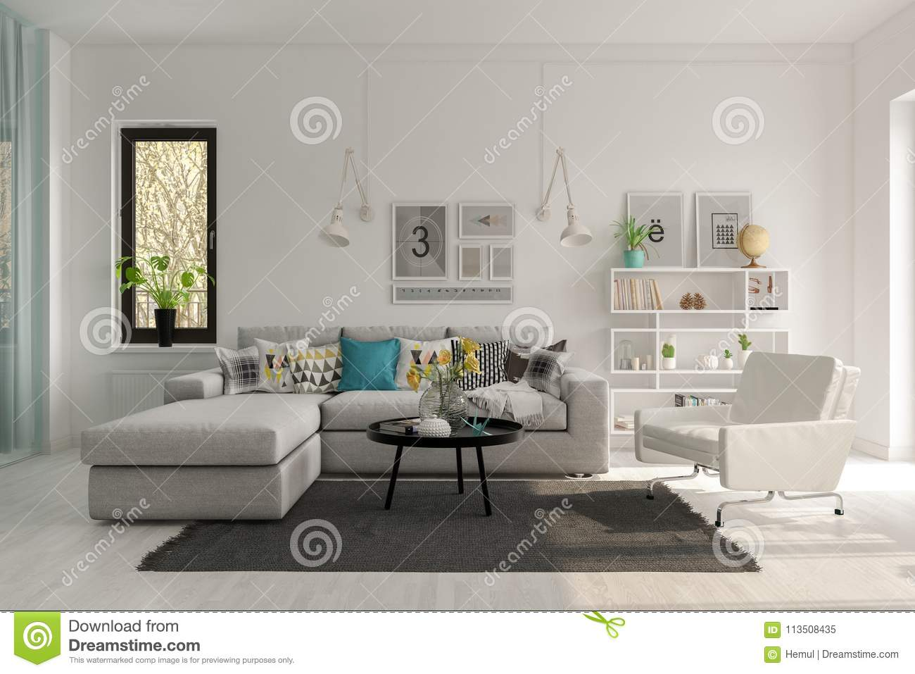 Scandinavian Style Interior Design 3 D Rendering