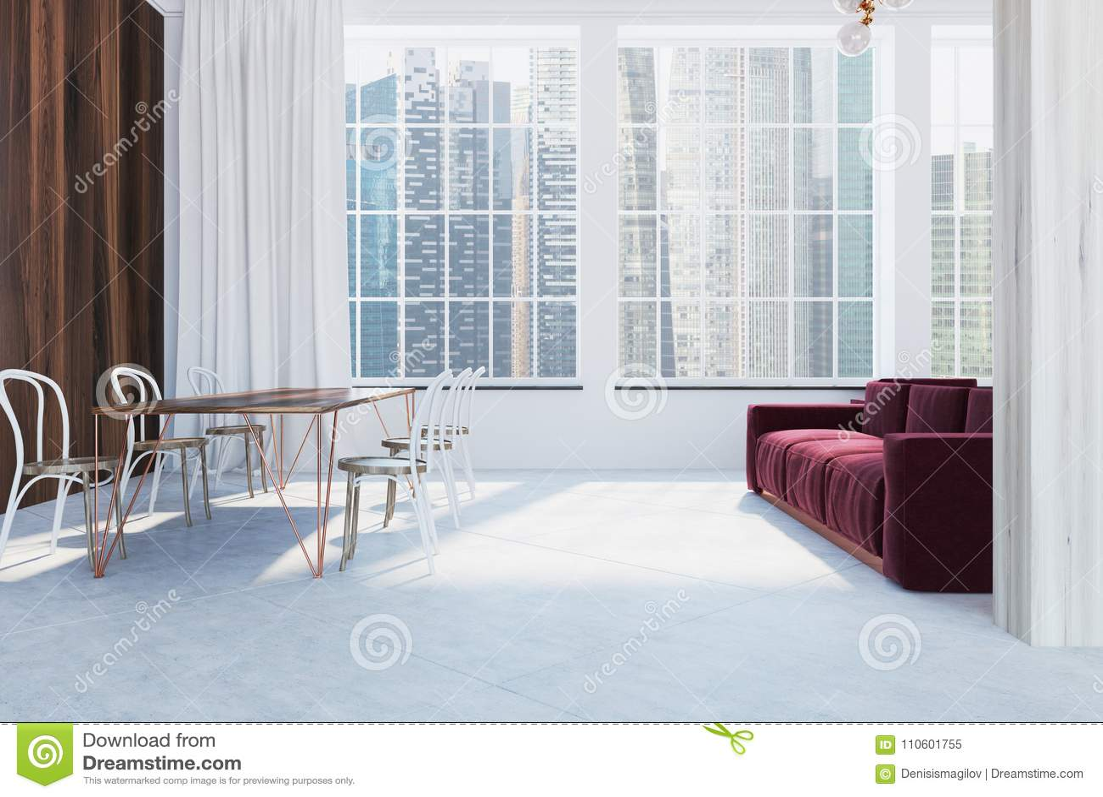 Scandinavian Style Living Room, Red Sofa, Side Stock Illustration ...