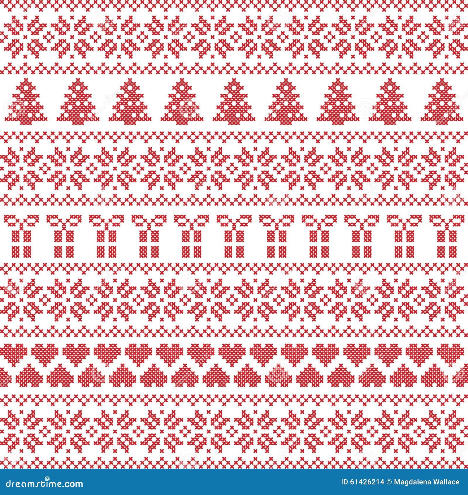 Scandinavian Style Nordic Winter Sweater Stitch Knit Pattern Stock