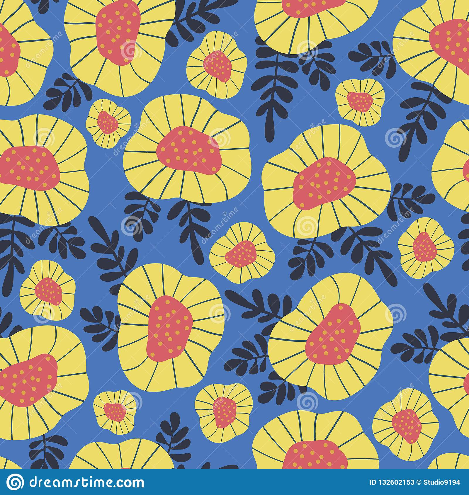 Scandinavian Style Retro Flower Background Seamless Floral Vector
