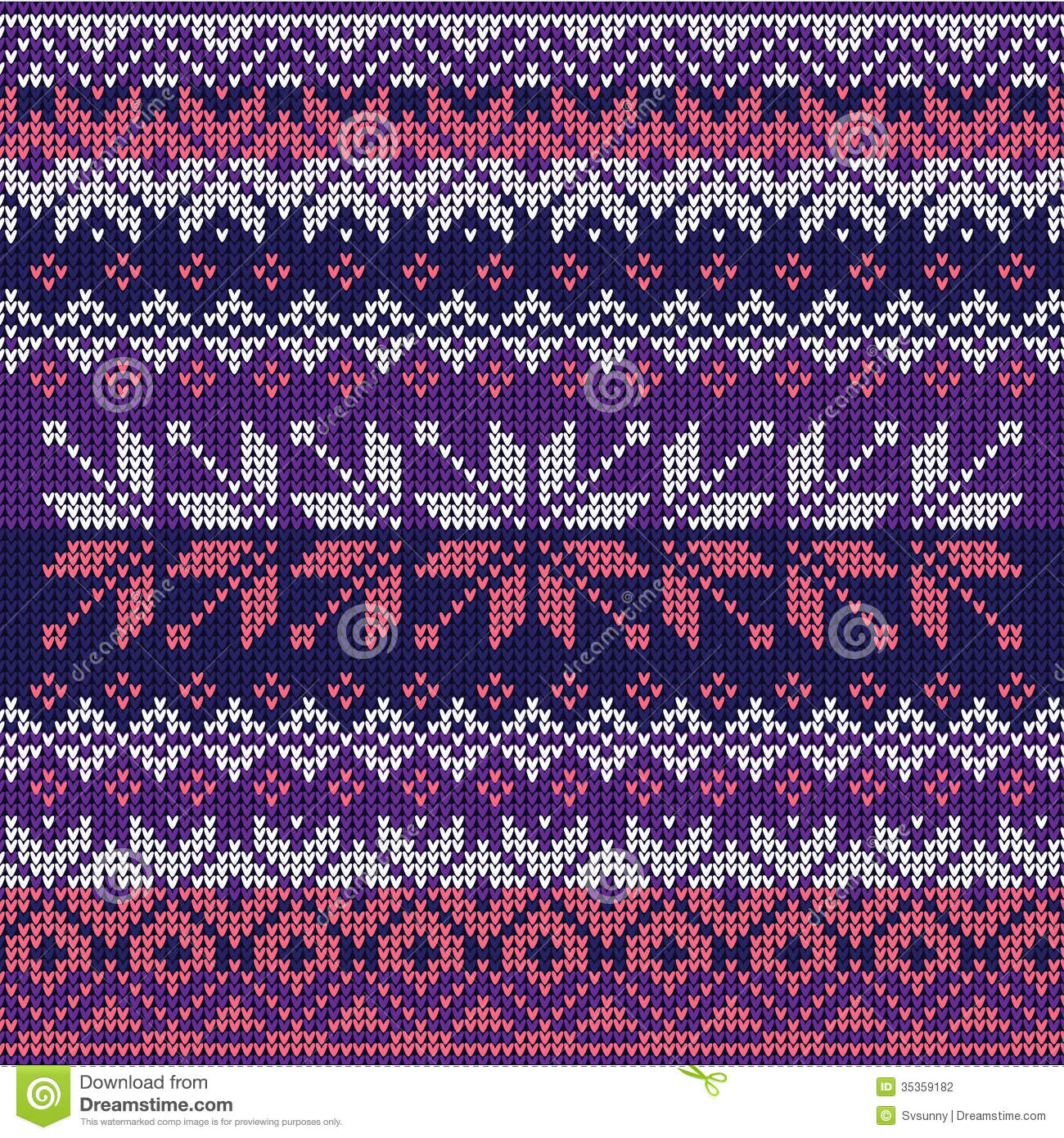 Nordic Knitting Pattern : Scandinavian Style Seamless Knitted Pattern. Colors: Blue, White Stock Photog...