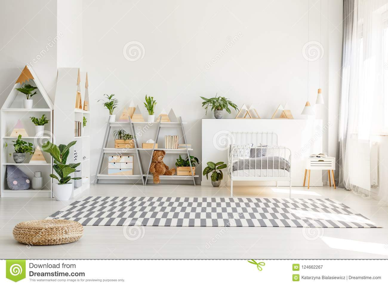 Scandinavian Style, Wooden Furniture With Plants And ...