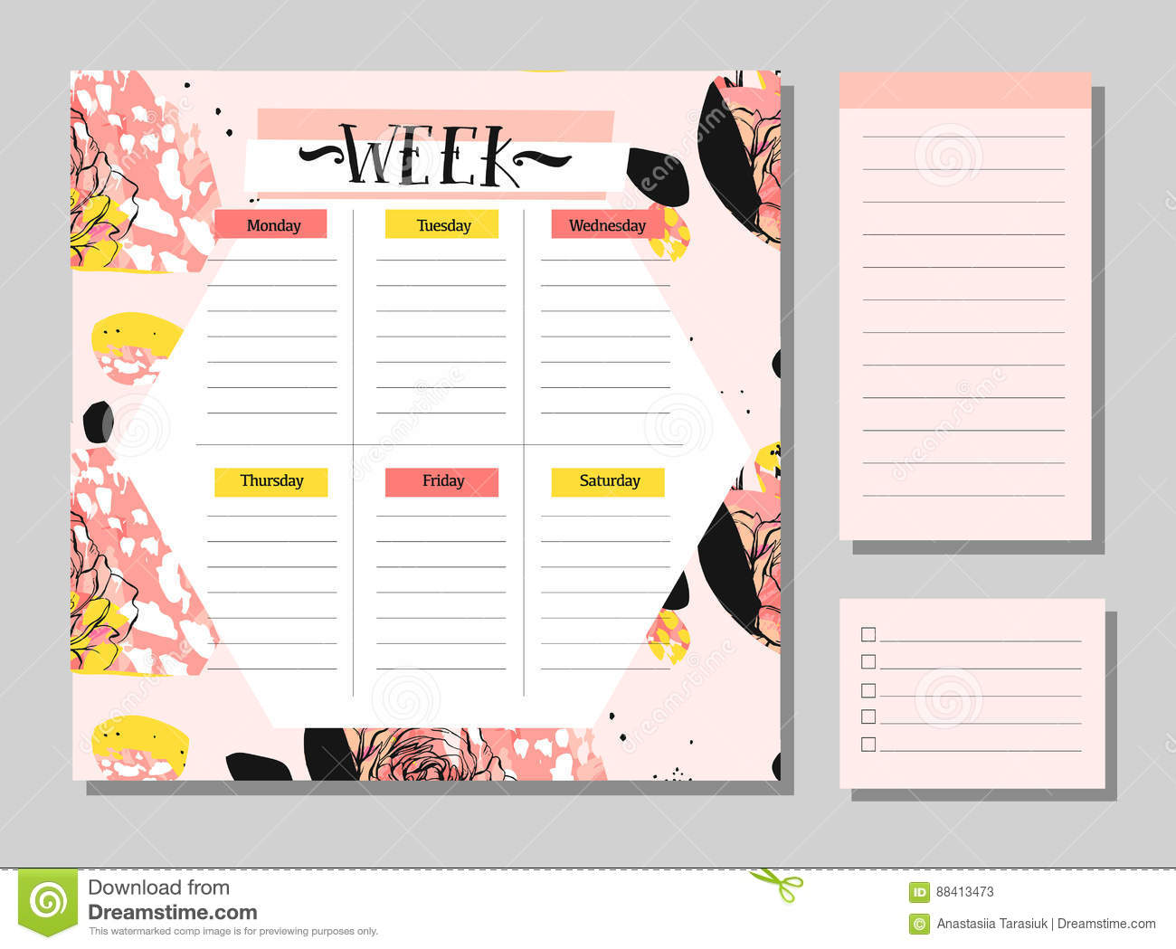 Scandinavian Weekly and Daily Planner Template. Organizer and Schedule with Notes and To Do List. Vector.