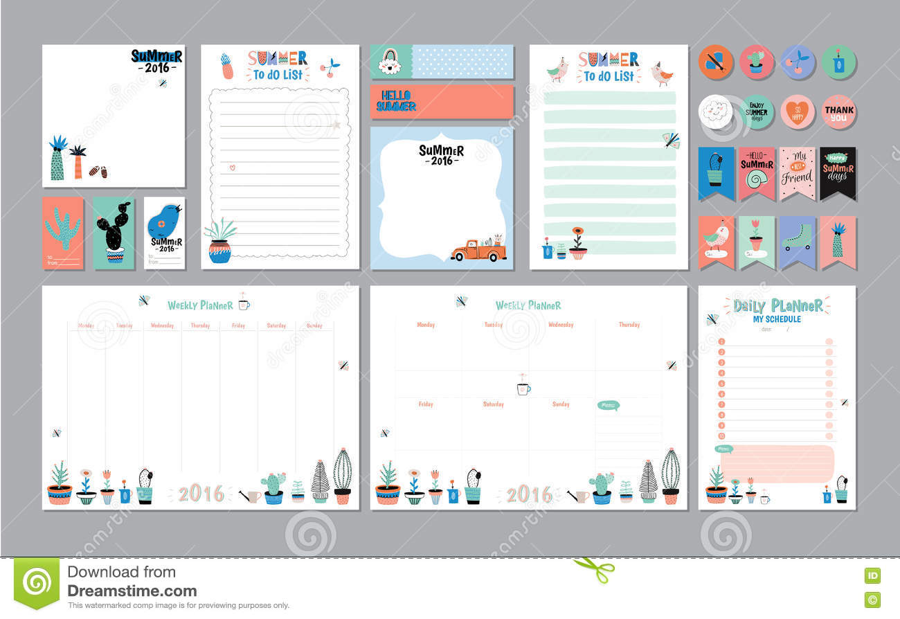 photo relating to Daily Planner Template named Scandinavian Weekly And Each day Planner Inventory Vector