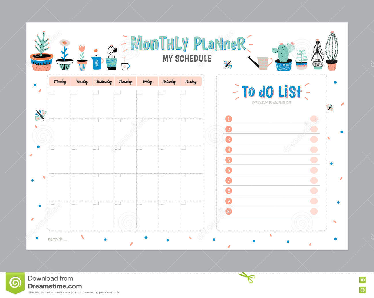 scandinavian weekly and daily planner stock vector