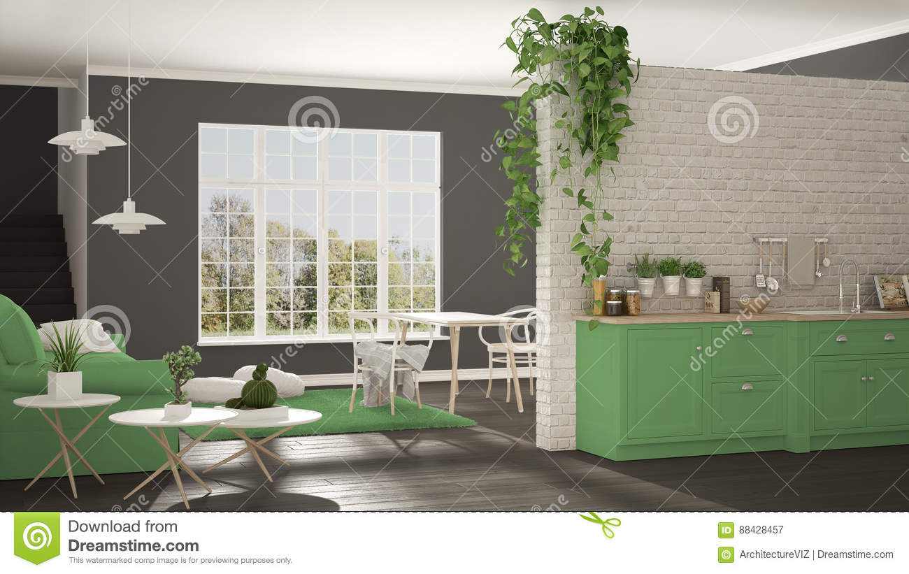 High Quality Scandinavian White, Green And Gray Minimalist Living With Kitchen, Open  Space, One Room
