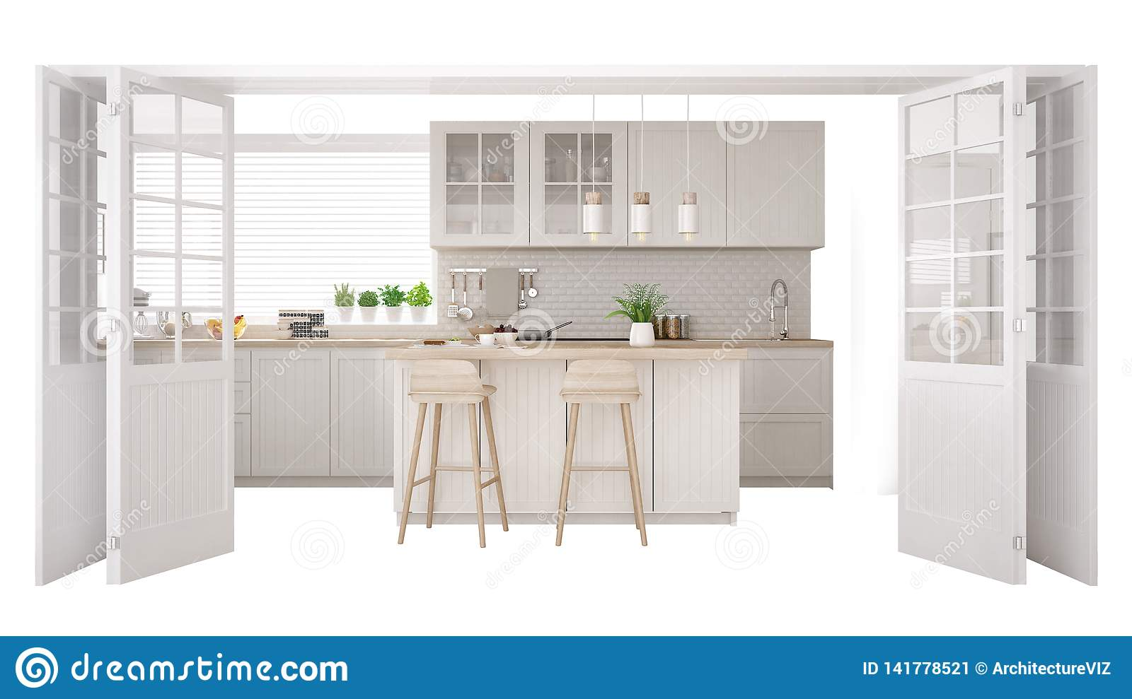 Scandinavian White Kitchen With Island And Accessories ...